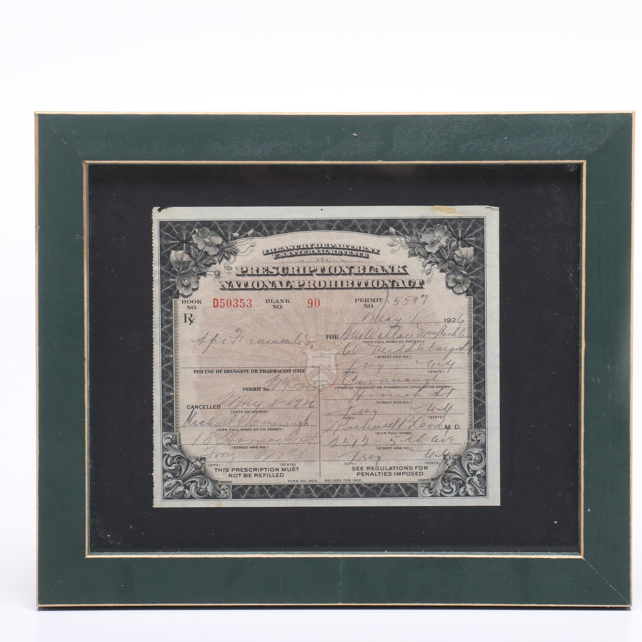 1926 Prohibition Era Whiskey Prescription from New York