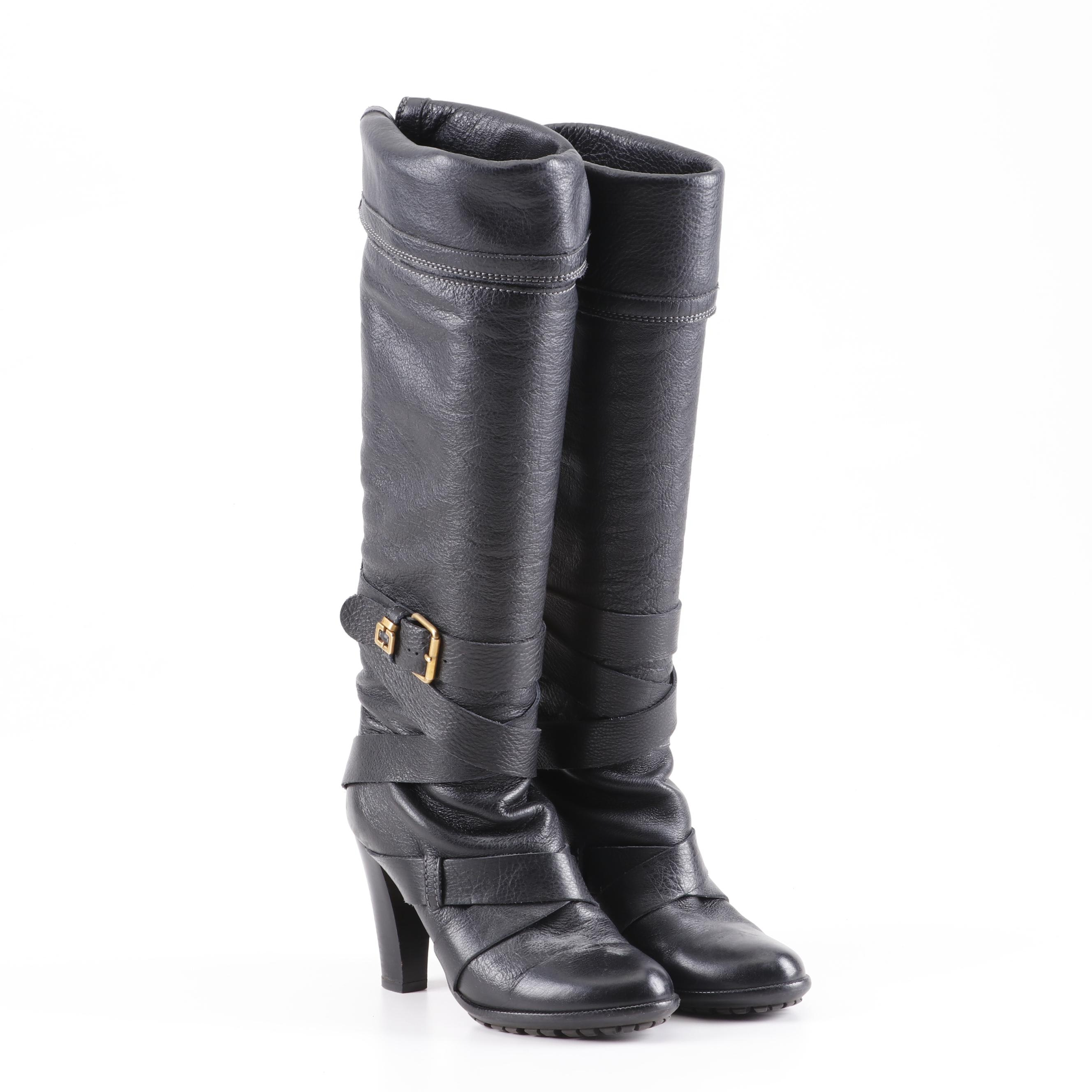 Women's Chloé Black Leather Knee-High Boots, Made in Italy