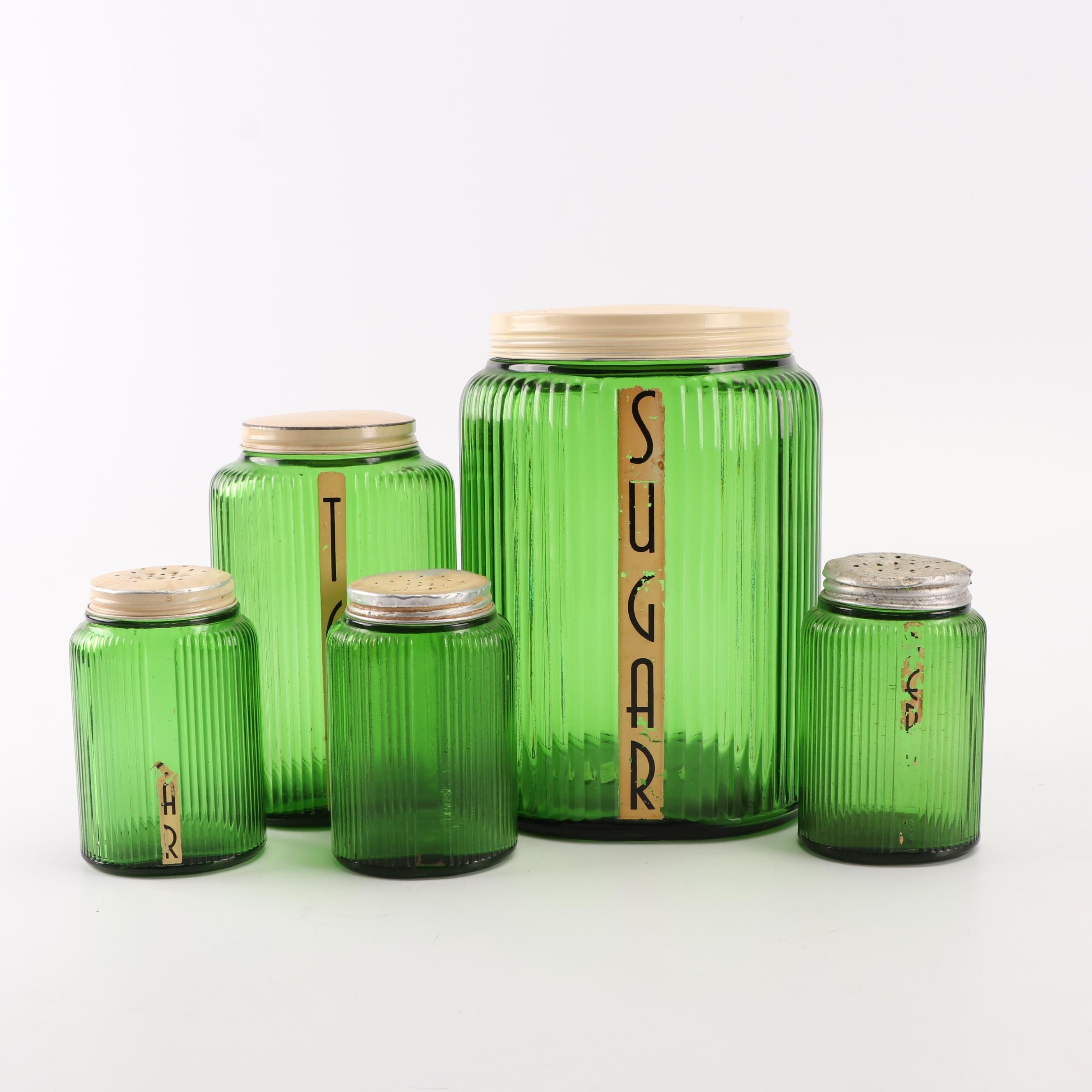 Owens-Illinois Green Depression Glass Shakers and Canisters, circa 1940