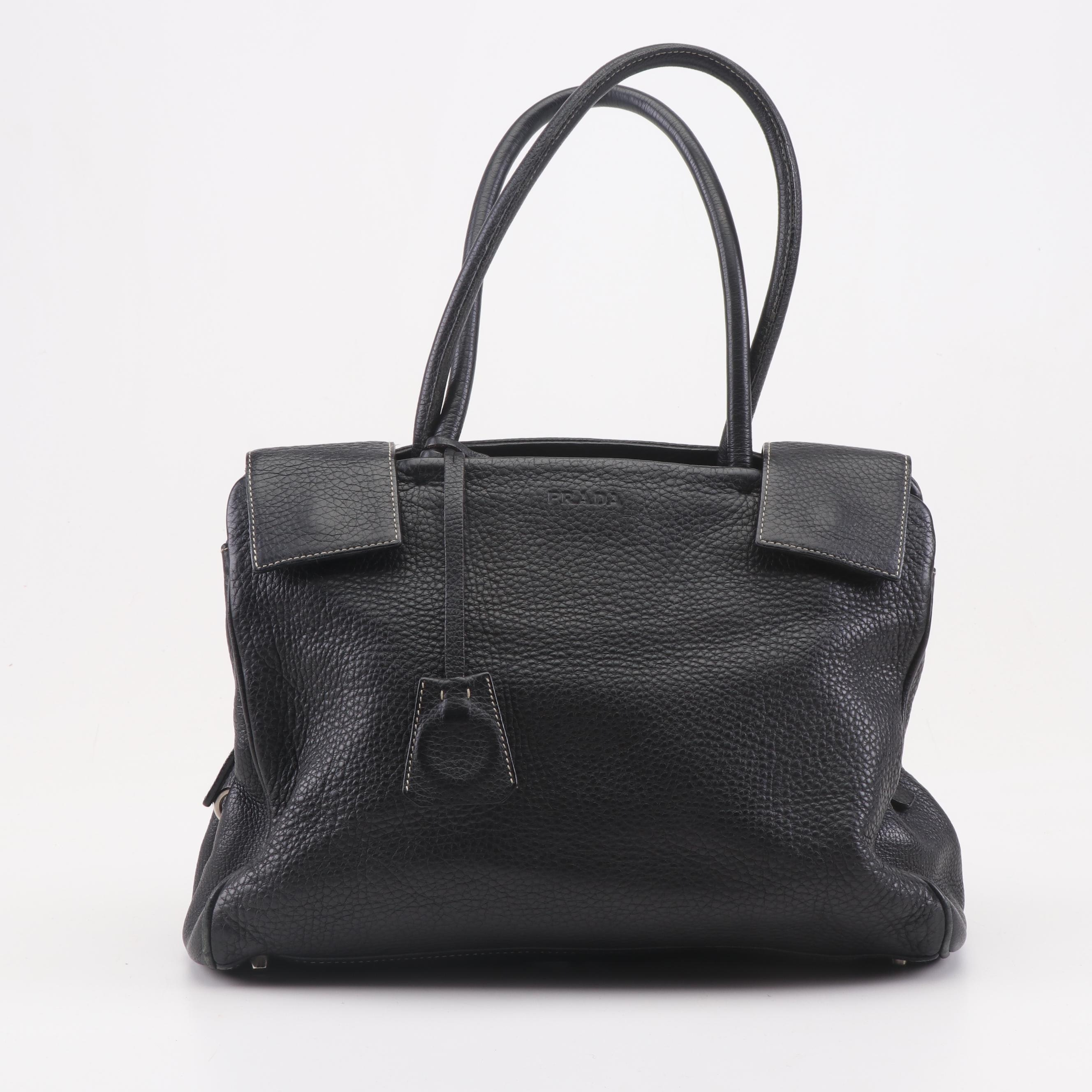 Women's Prada Black Pebbled Leather Tote