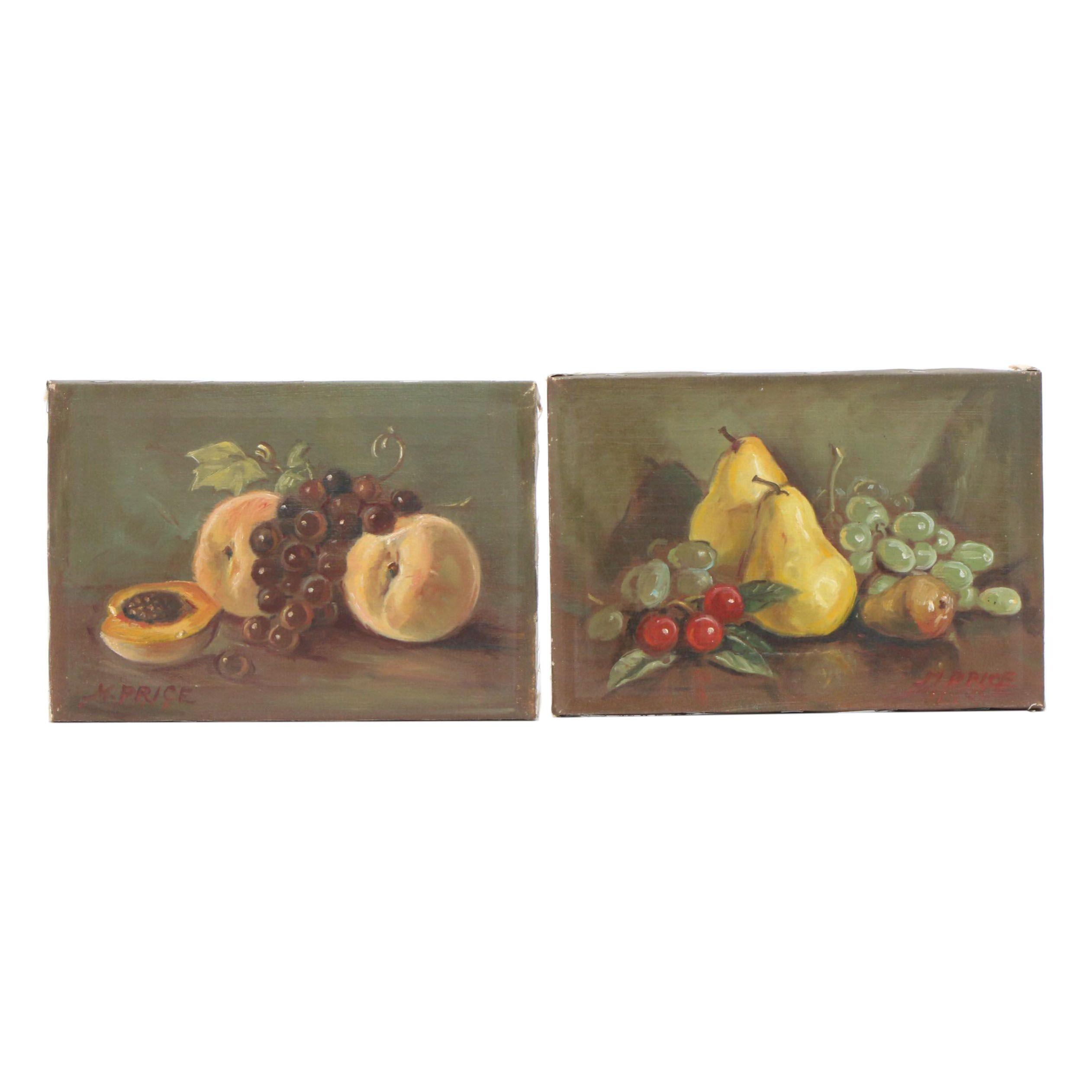 M. Price Mid-Century Still Life Oil Paintings