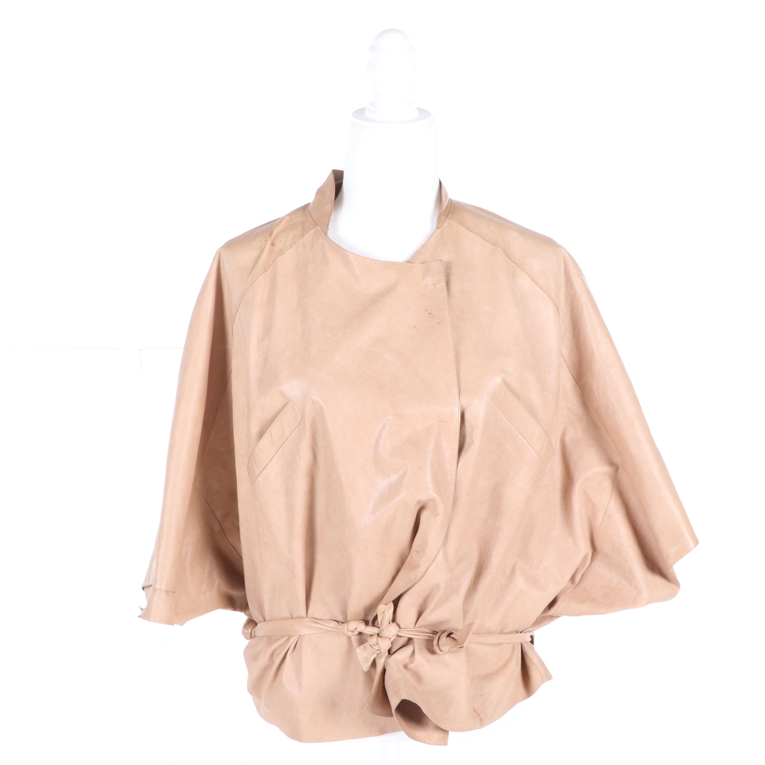 Women's Marni Blush Lambskin Leather Dolman Sleeve Jacket with Slash Pockets