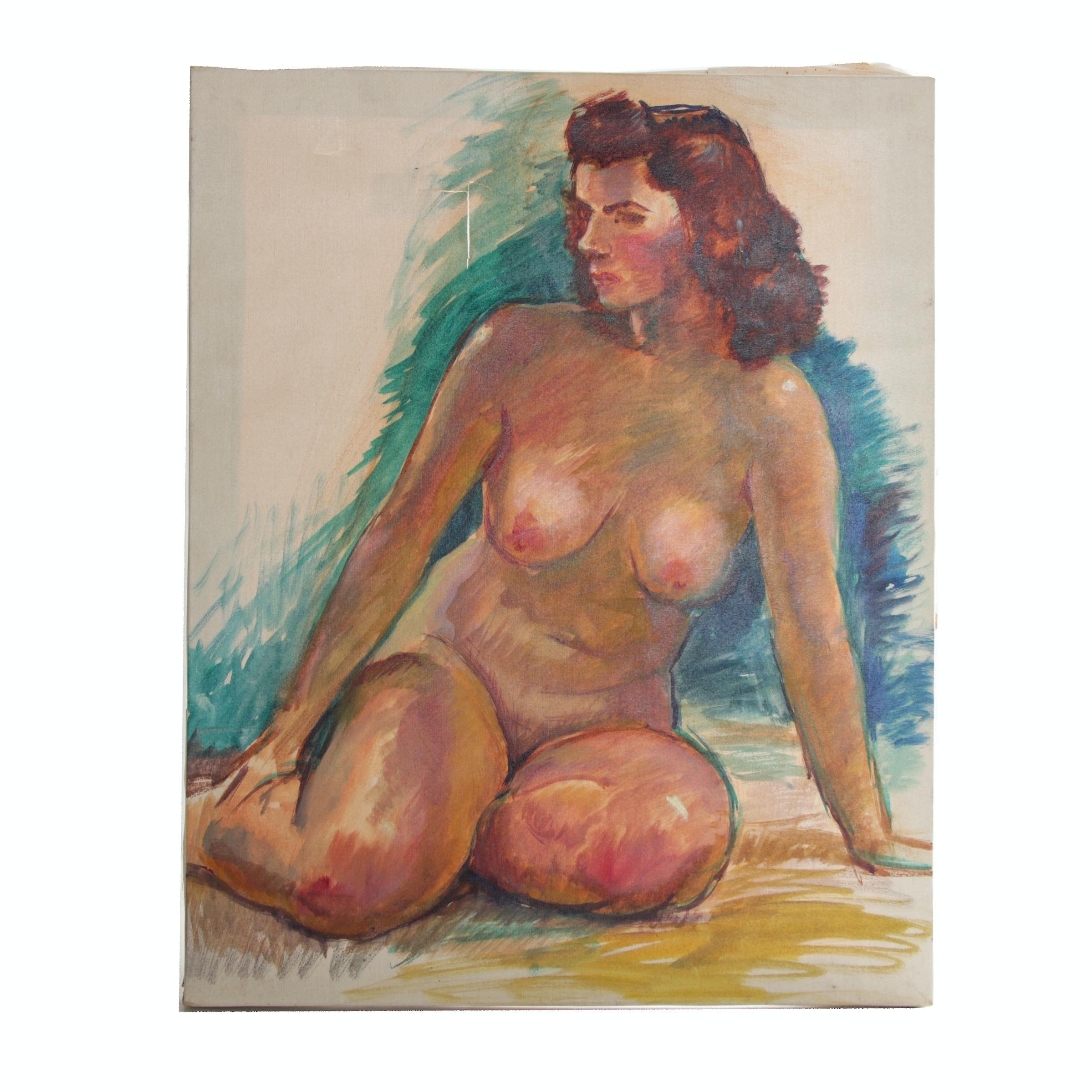 "Robert Whitmore Oil Painting ""Female Nude"""