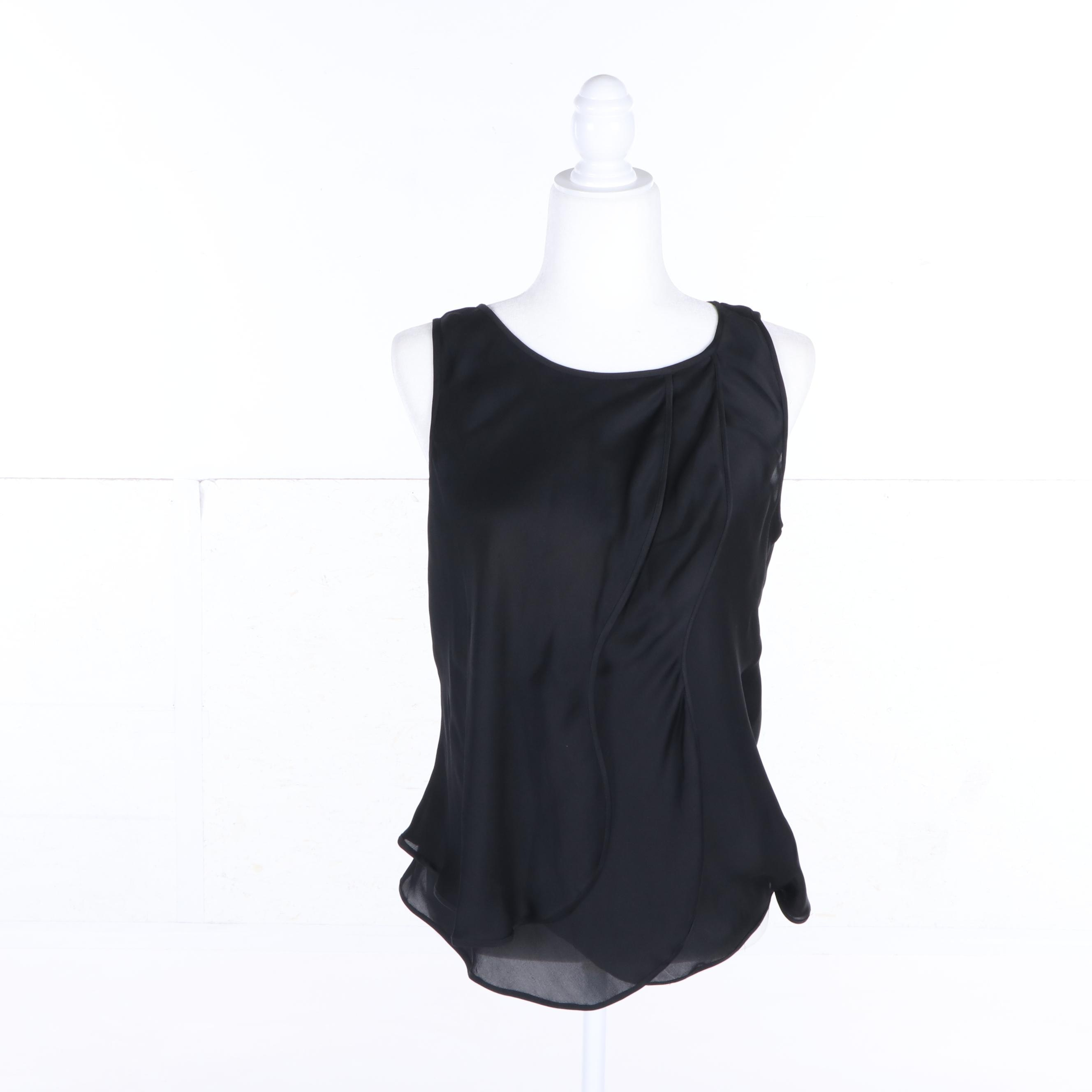 Women's Giorgio Armani Black Silk Sleeveless Top, Made in Italy