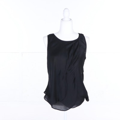 0200b7699bf379 Women s Giorgio Armani Black Silk Sleeveless Top