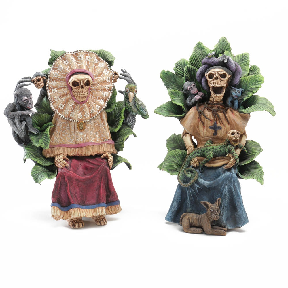 José Juan Garcia Aguilar Original Handmade Ceramic Day of the Dead Sculptures