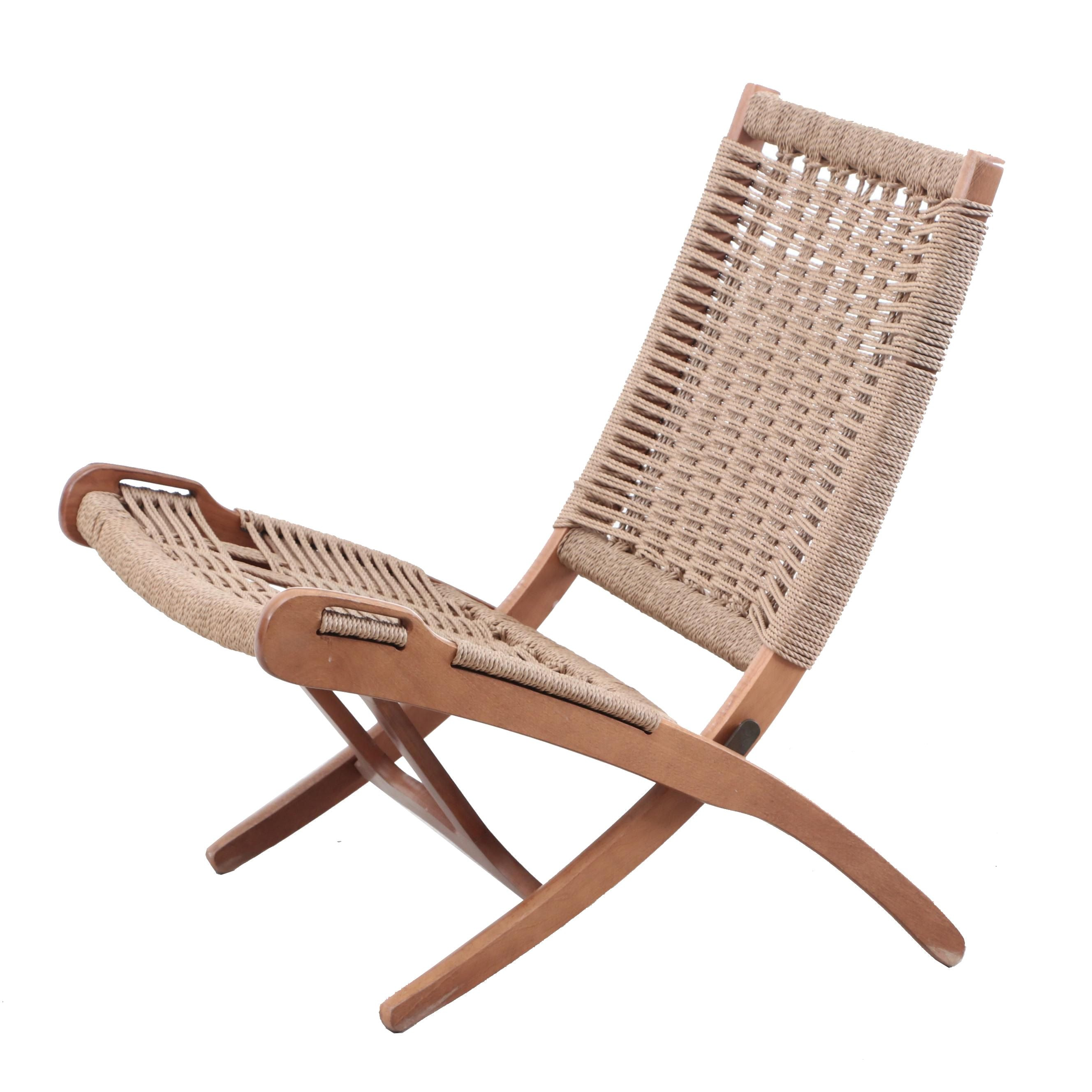 Hans Wegner Style Woven Folding Chair