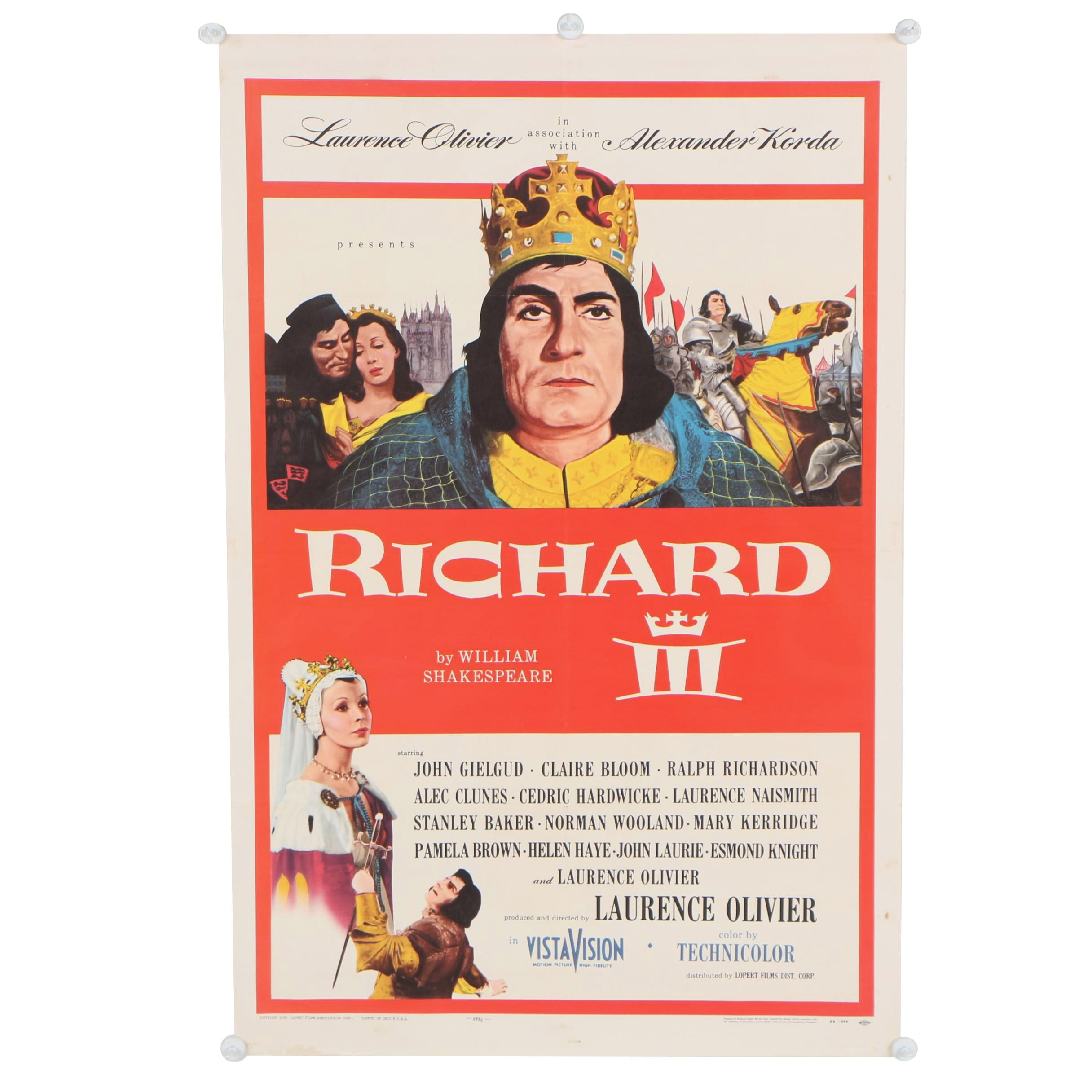 """Richard III"" with Laurence Olivier Theatrical Release One Sheet Poster, 1956"