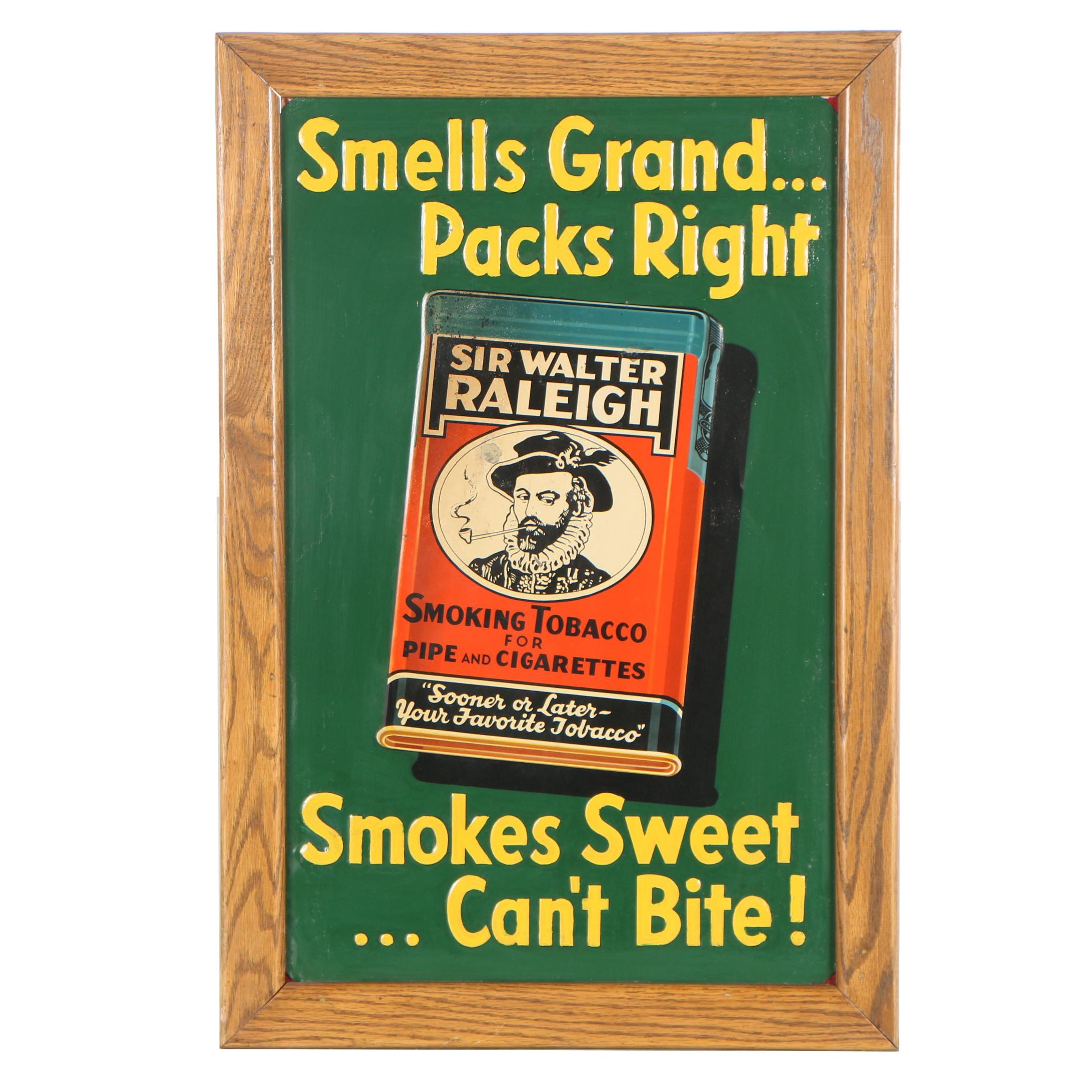 Tin Sign for Sir Walter Raleigh Smoking Tobacco, Mid 20th Century