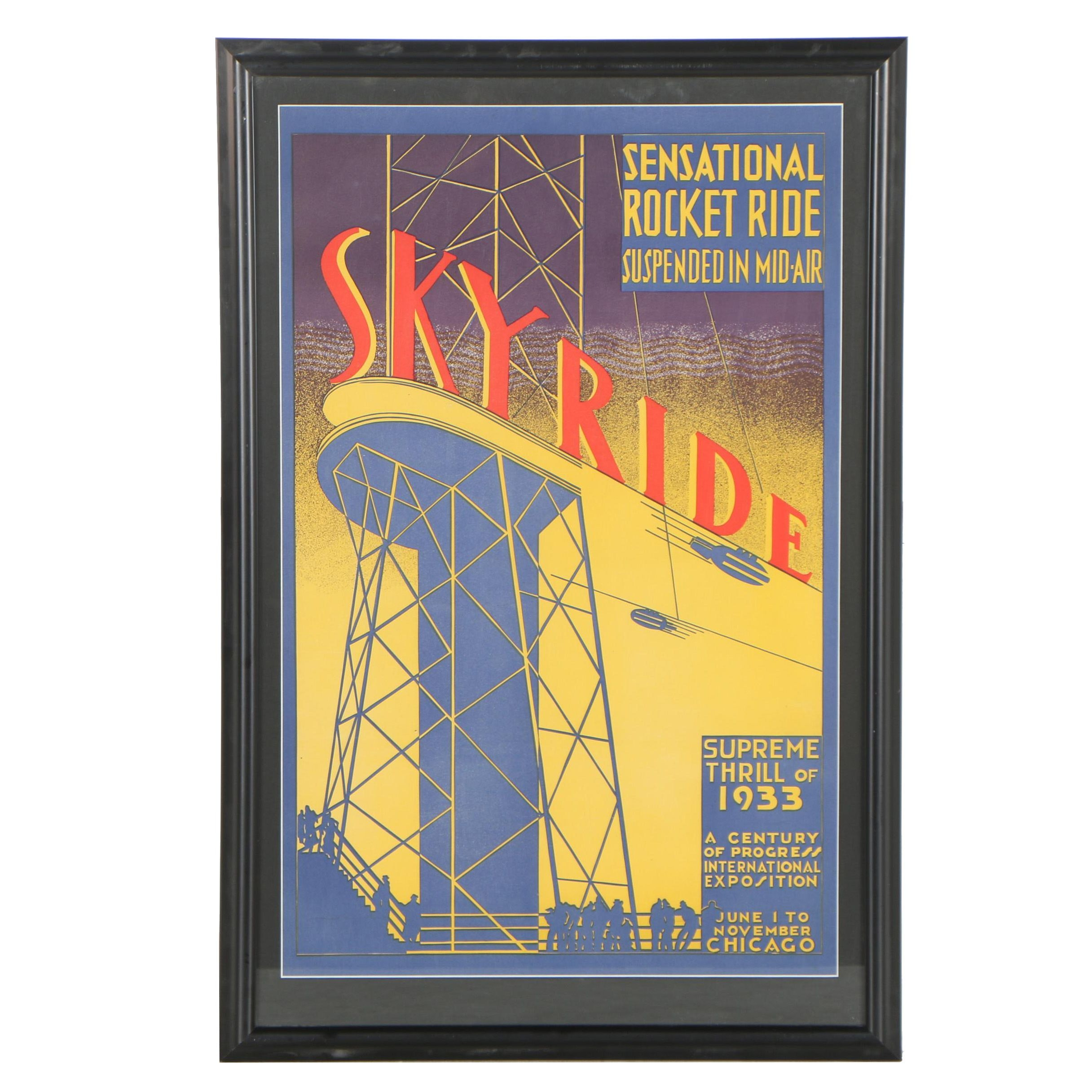 """Reproduction Lithograph after 1933 Chicago Expo """"Skyride"""" Poster"""