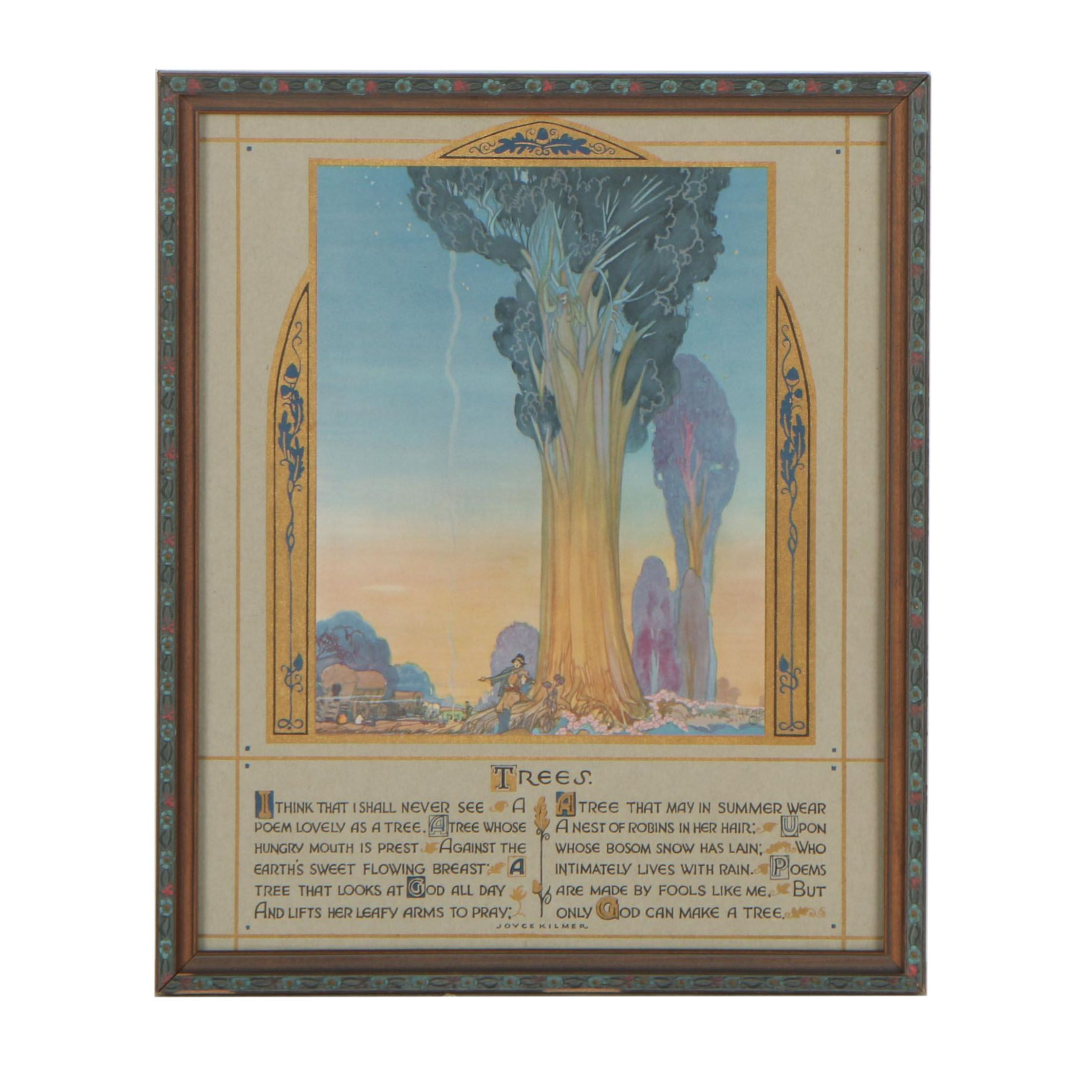 """Art Deco Lithograph Joyce Kilmer Poem """"Trees"""" with Artwork after Lee Mero, 1914"""