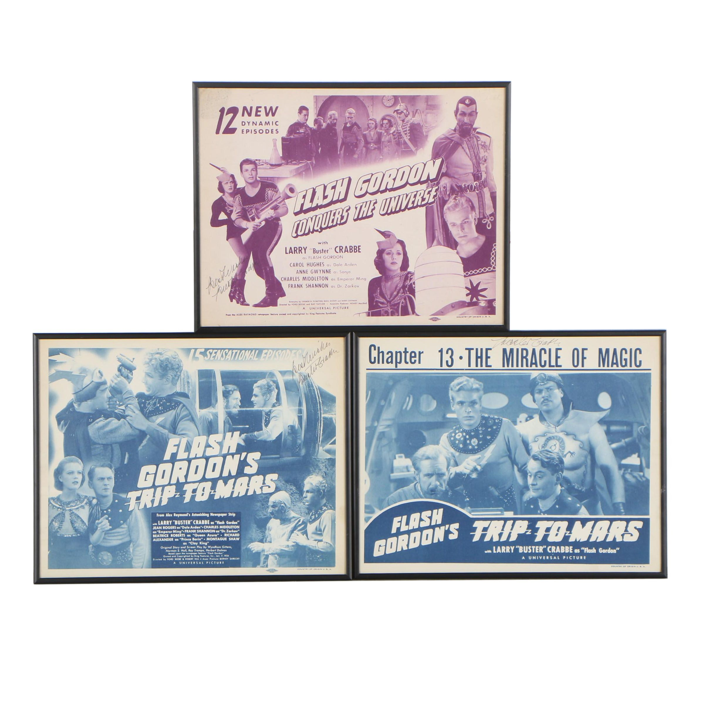 """Flash Gordon"" Lobby Cards Signed by Buster Crabbe, 1938-1940"