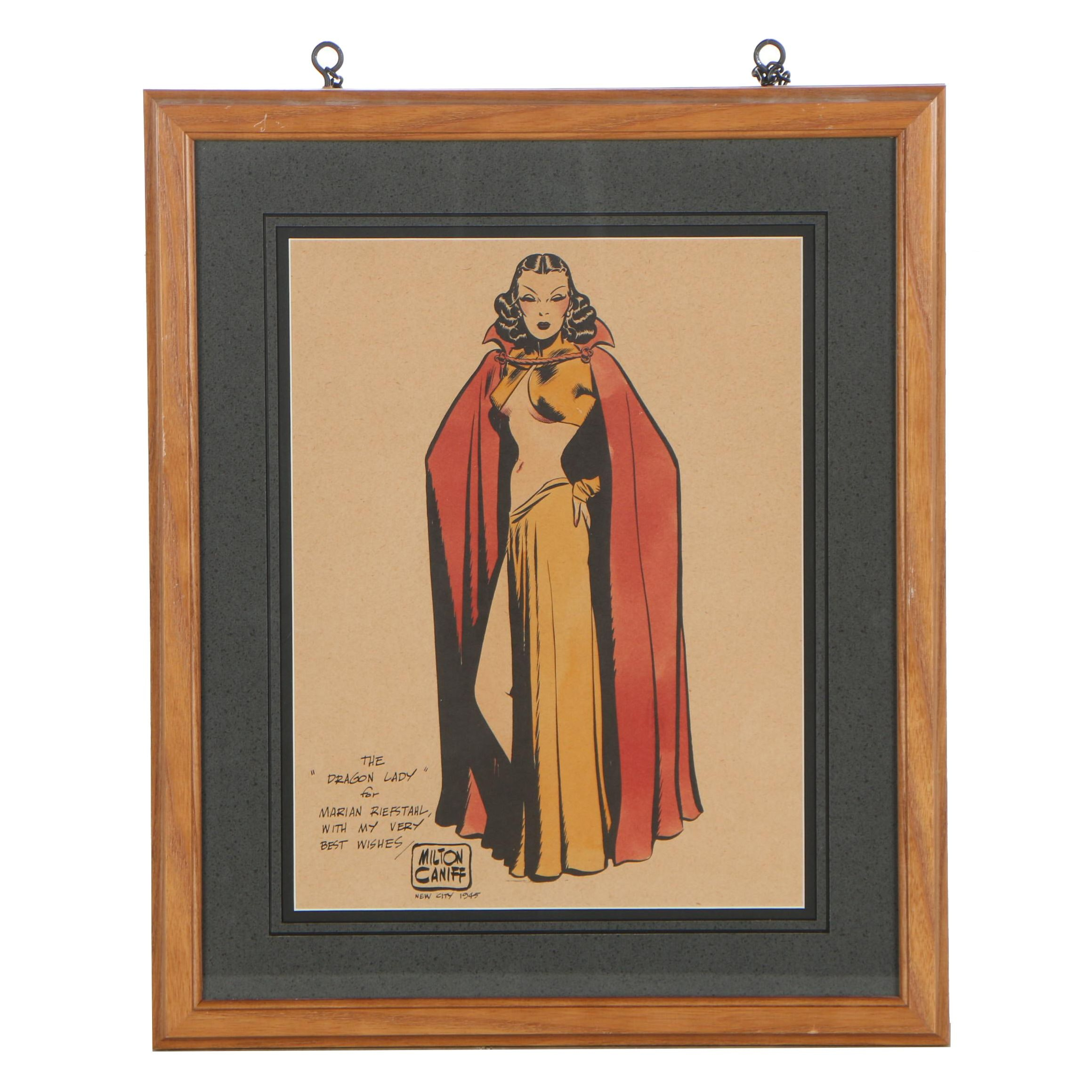 "Milton Caniff Sketch and Hand-Colored Lithograph of ""The Dragon Lady"""