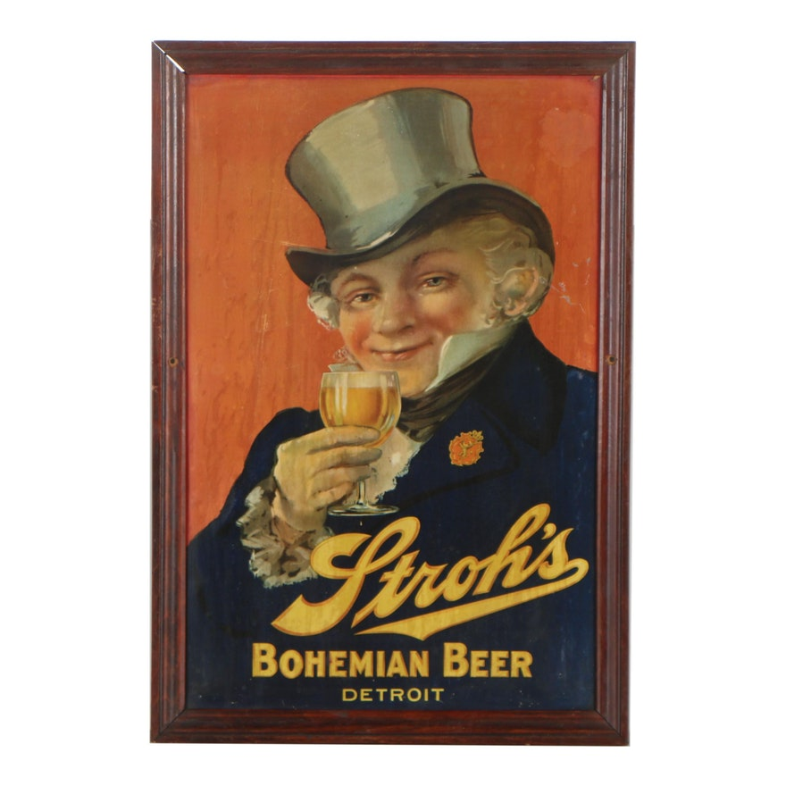 Offset Lithograph on Tin Stroh's Bohemian Beer Sign, early 20th Century