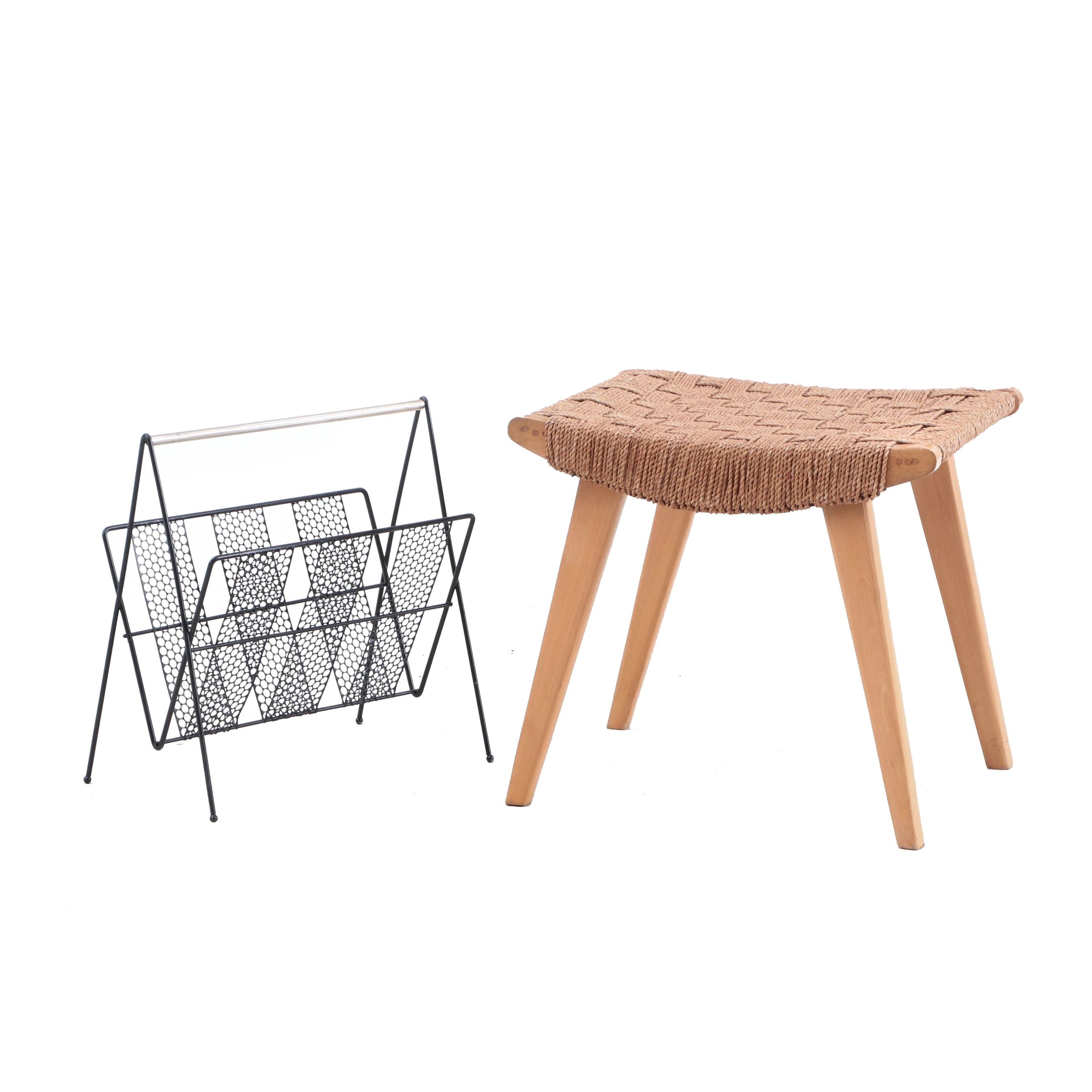 Woven Footstool and Wrought Magazine Rack