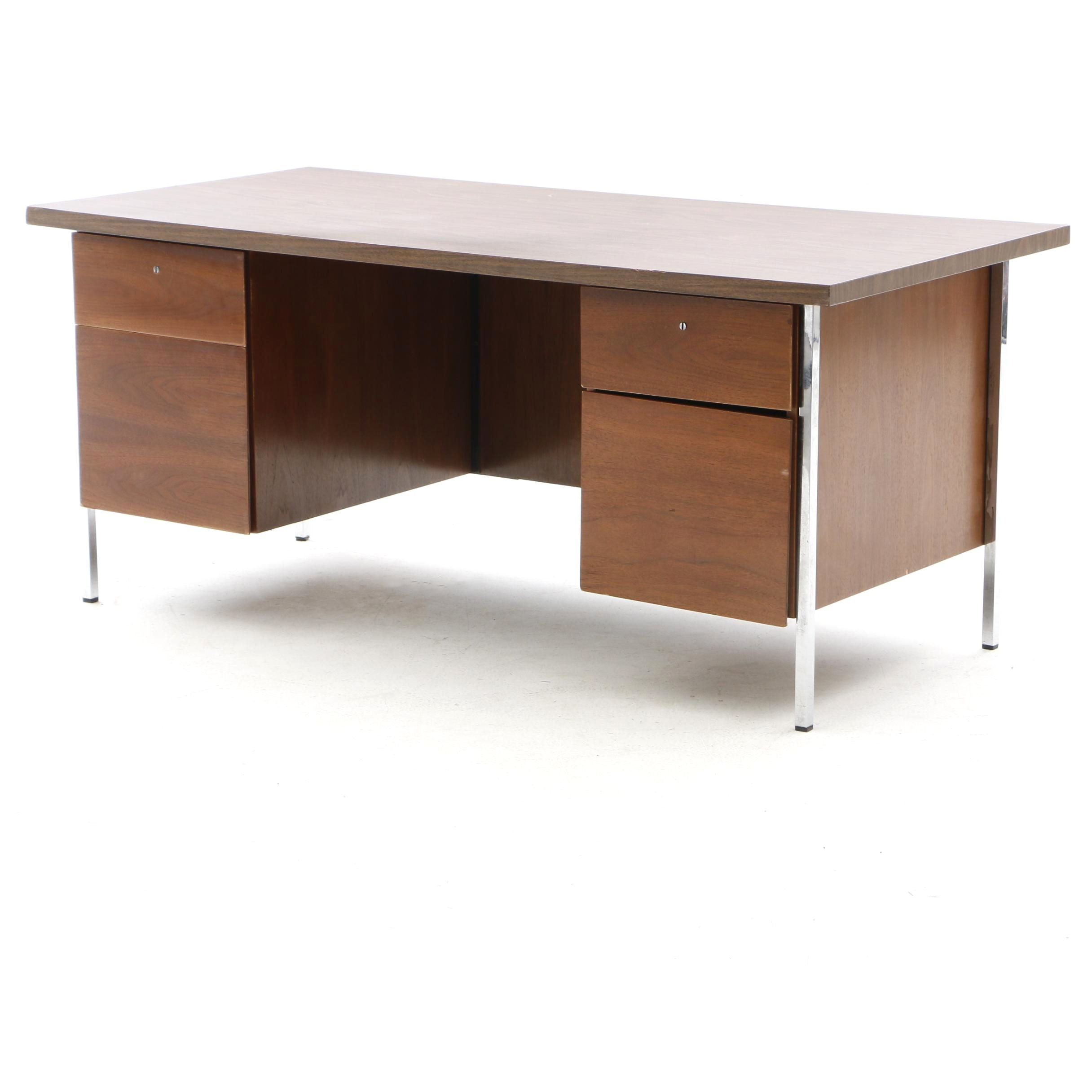 Walnut Kneehole Laminate Desk with Chrome Frame