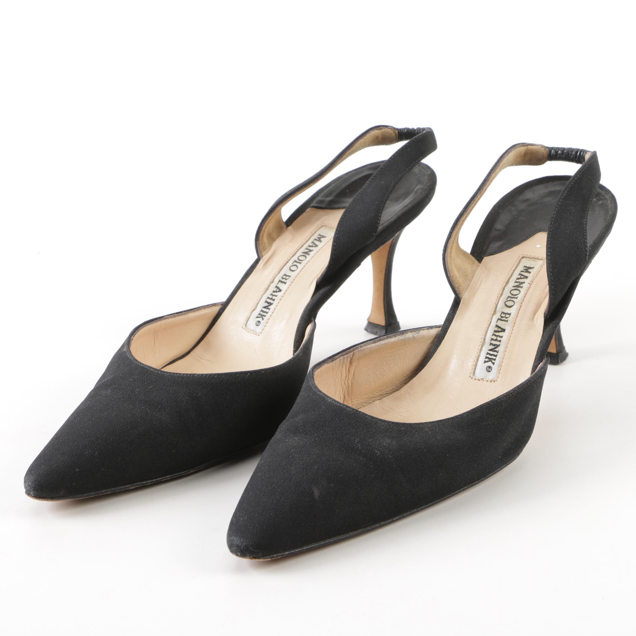 Manolo Blahnik Black Satin Pointed Toe Slingbacks