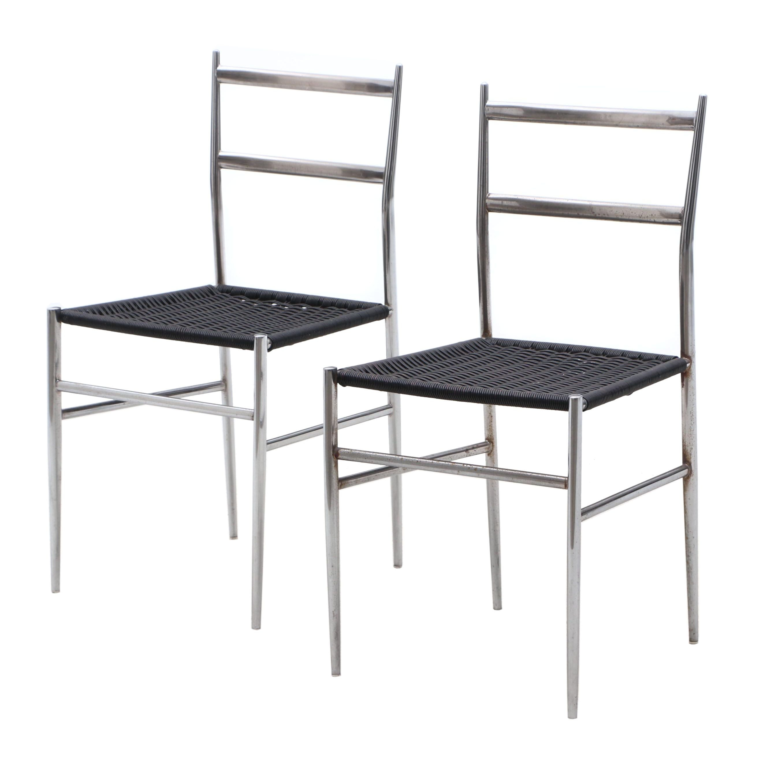 Two Chrome-Framed Wicker Chairs, Style of Gio Ponti