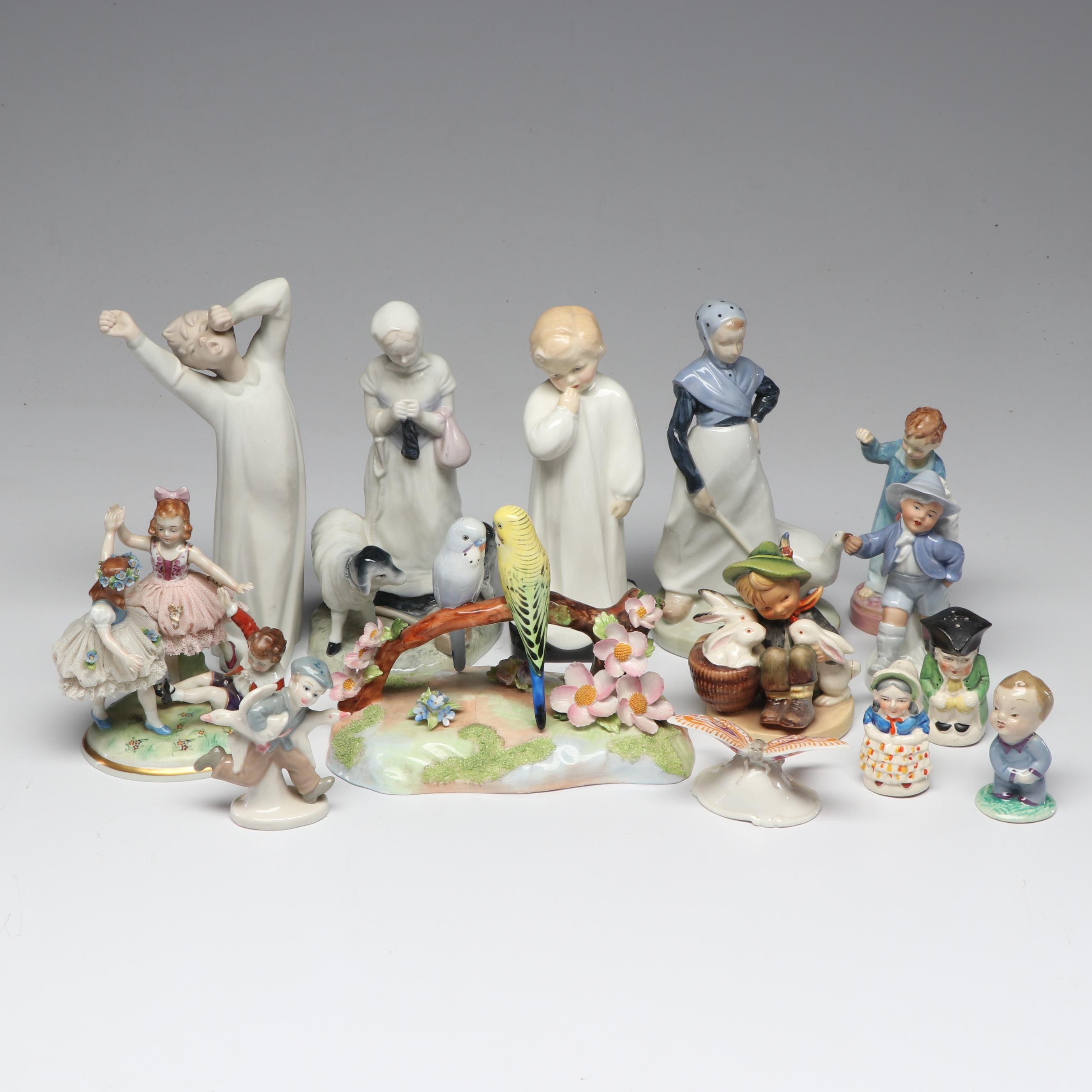 Porcelain Figurines with Hummel, Royal Doulton, Nao and Others