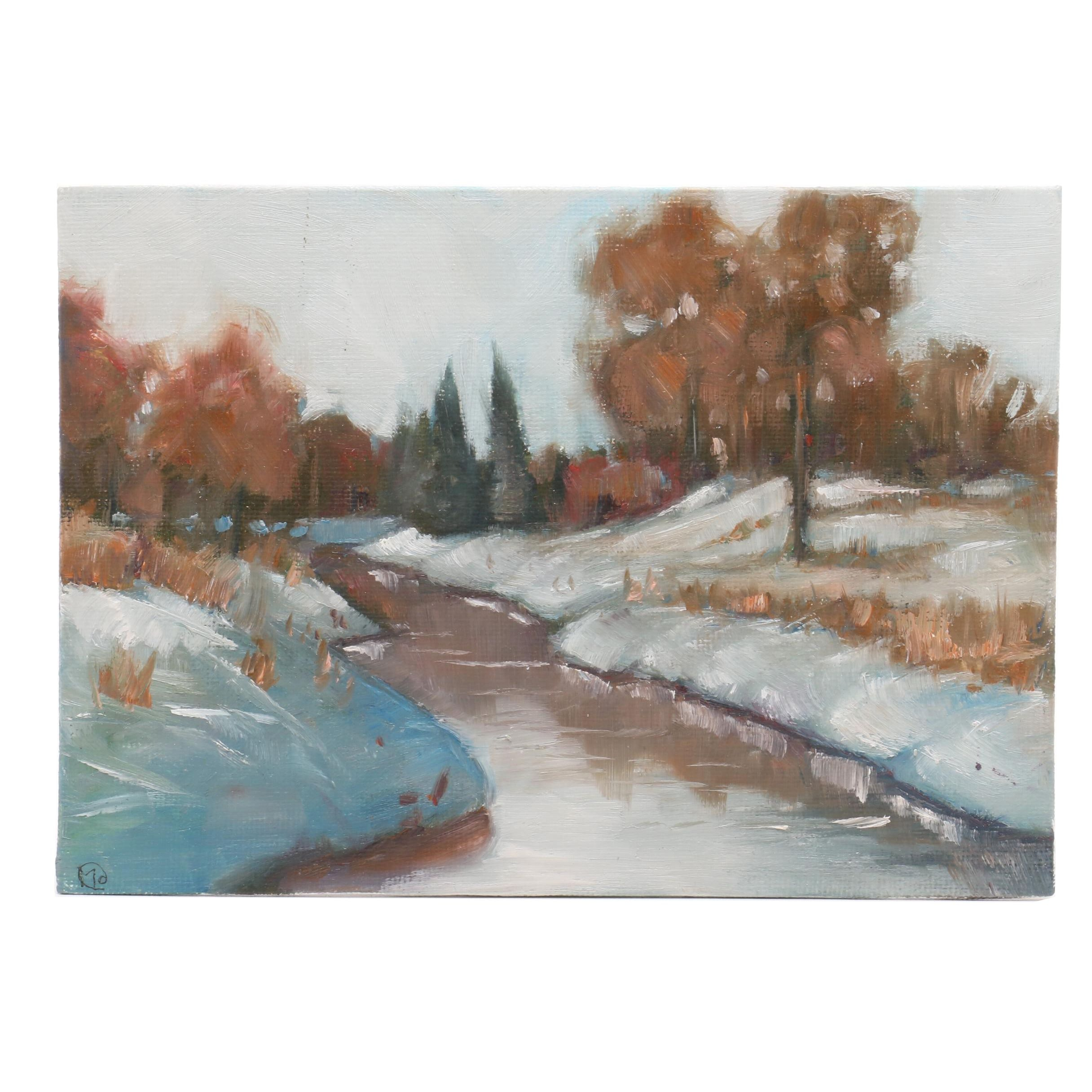 Maureen Hanson Winter Landscape Oil Painting