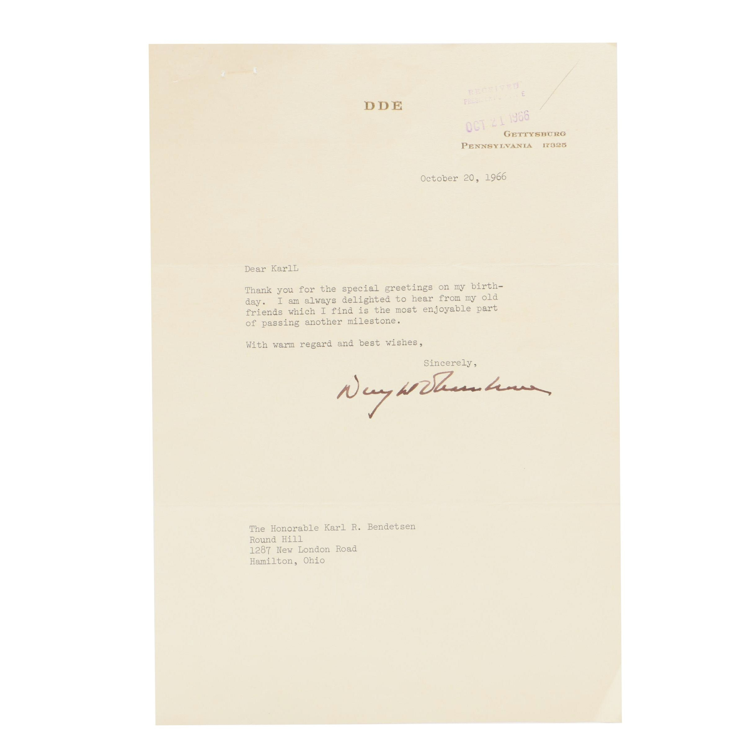 Dwight D. Eisenhower Signed Letter  Visual COA