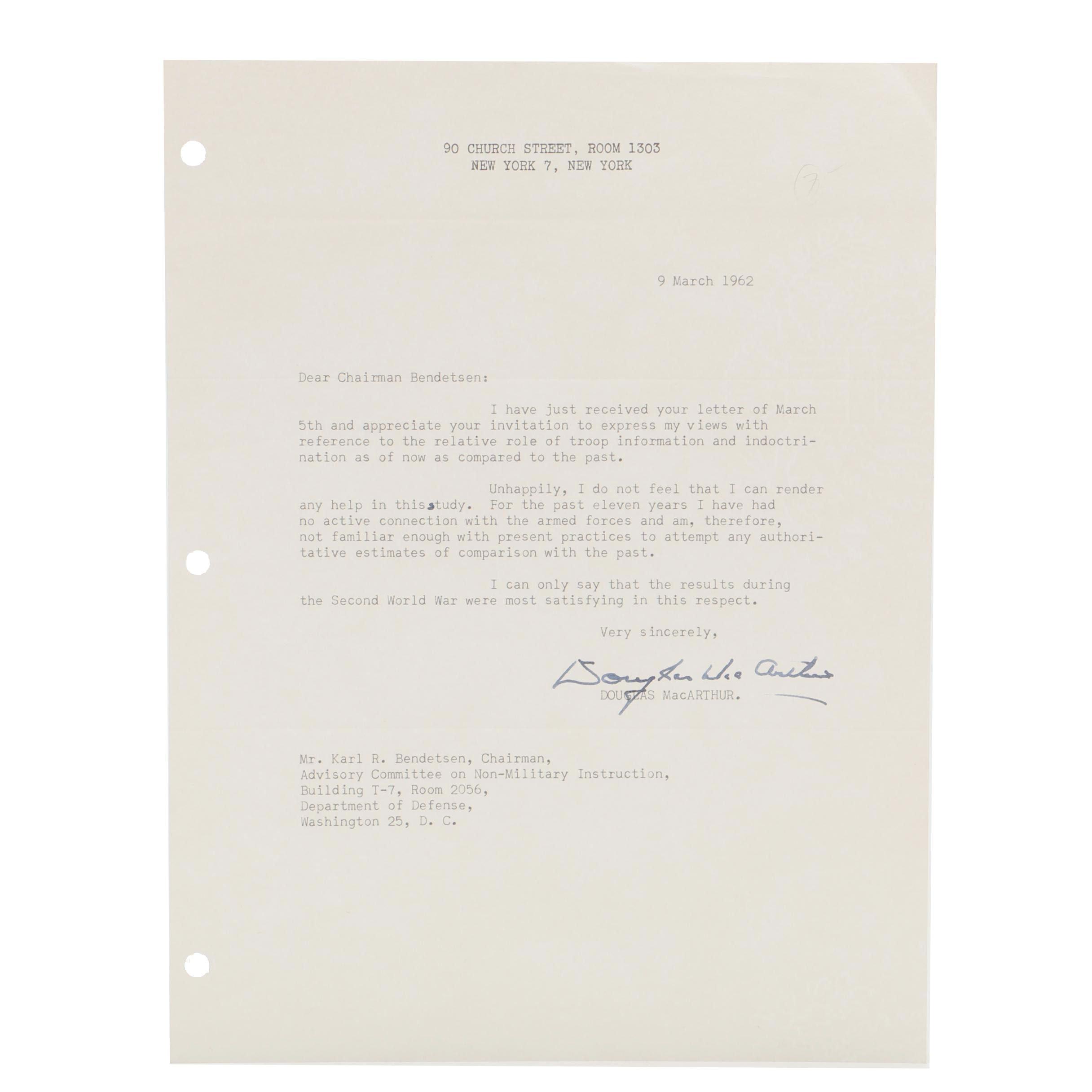 Douglas MacArthur Signed Letter  Visual COA