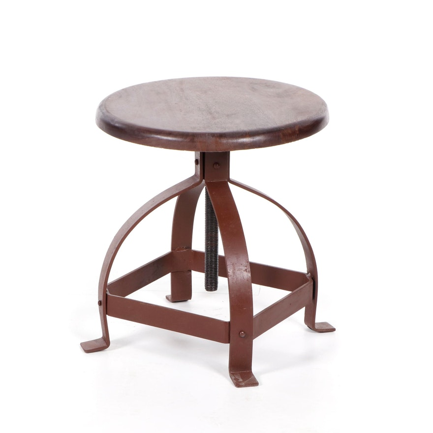 Industrial Style Metal and Wood Swivel Stool, 21st Century