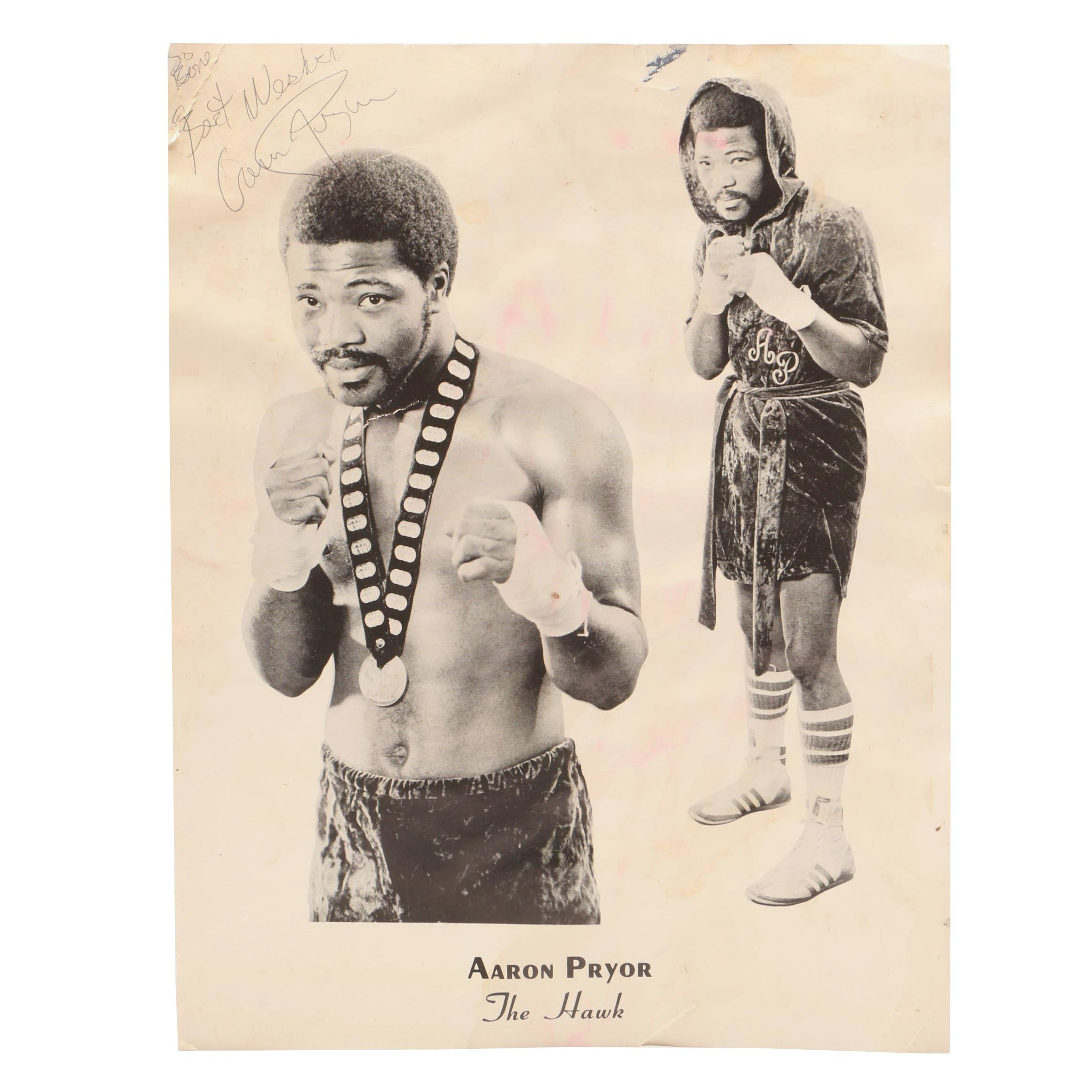 "Aaron Pryor ""The Hawk"" Signed Boxing Photo Print"