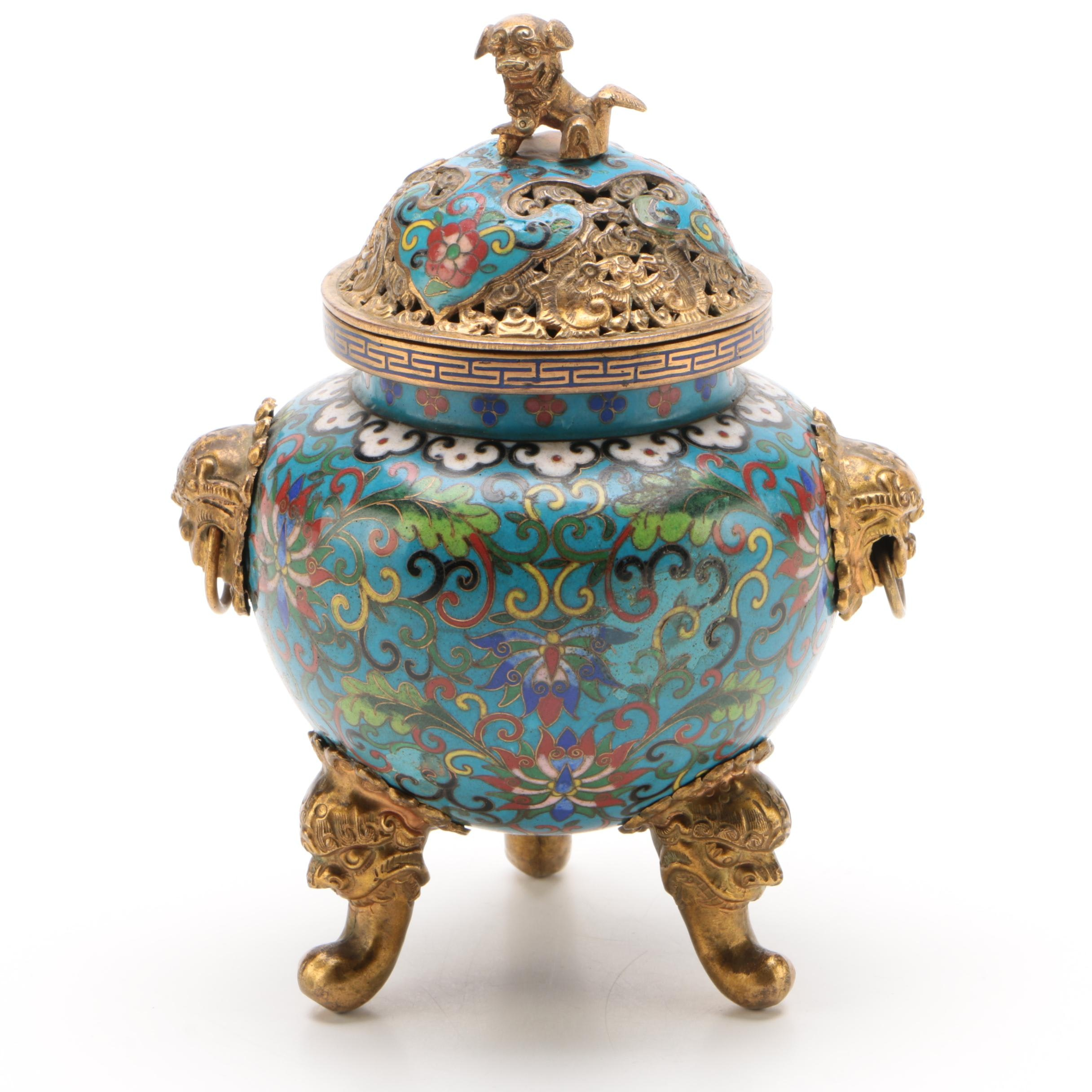 Chinese Cloisonné Gilt Metal Censer, Qing dynasty