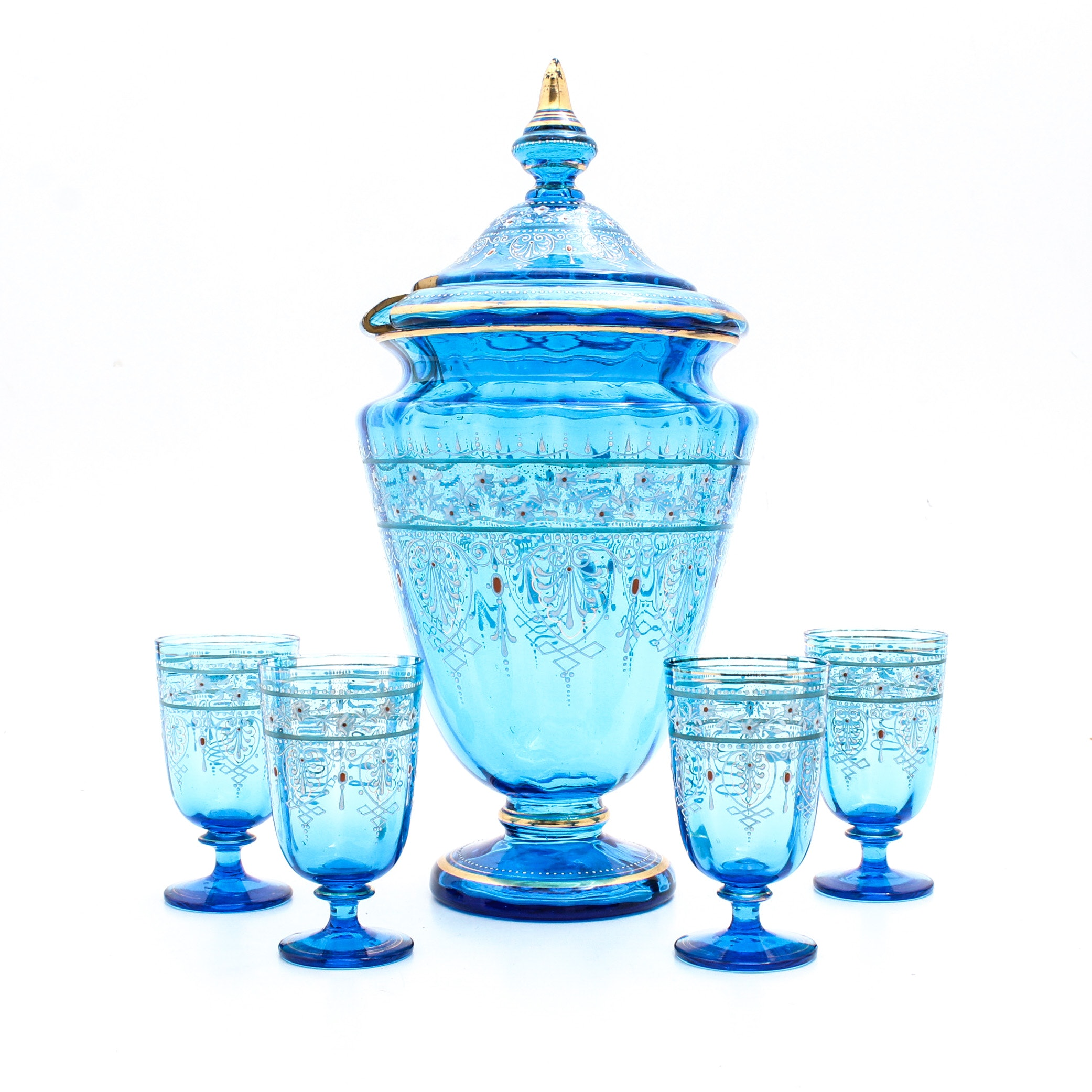 Blue Glass Punchbowl and Glasses with Enamel Decoration