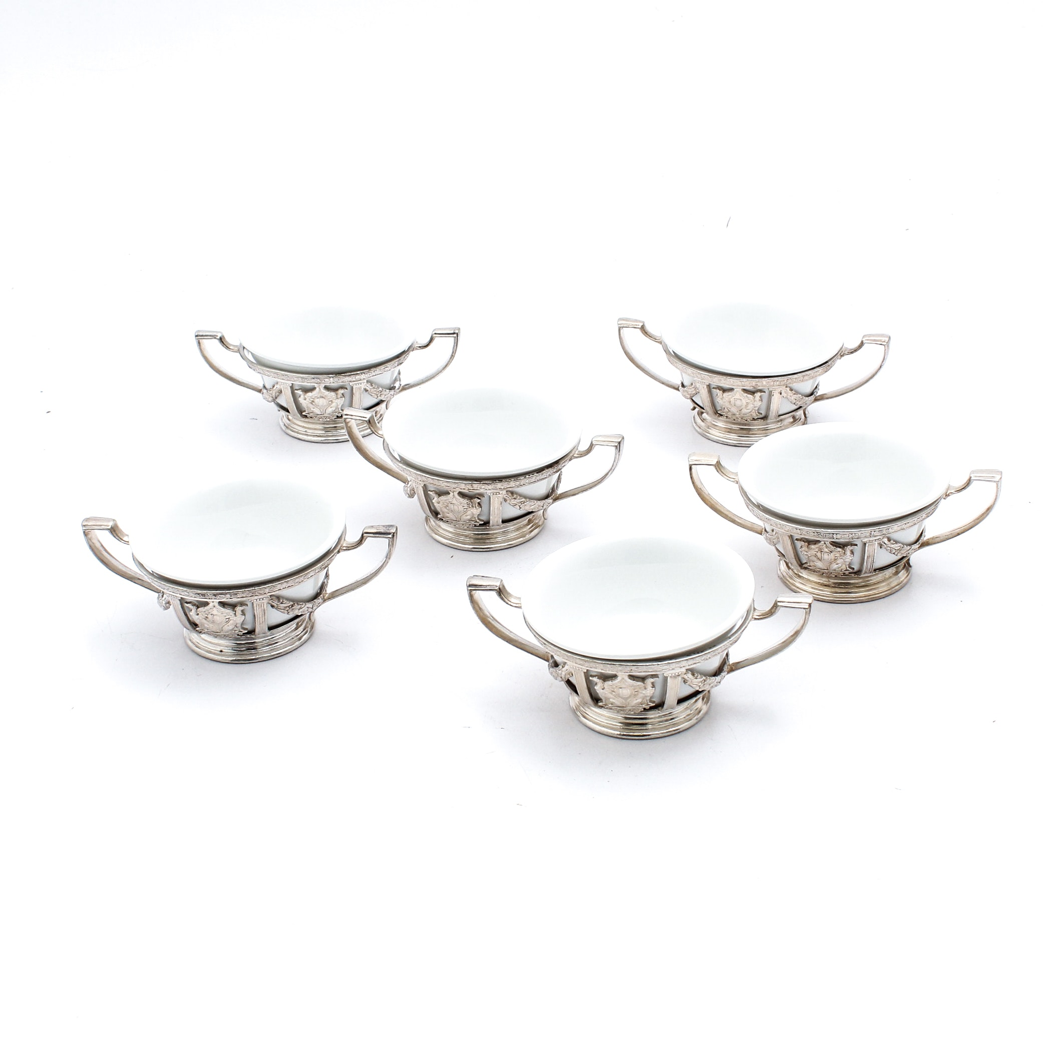 Silver Tone Metal Cream Soup Holder with Ceramic Inserts