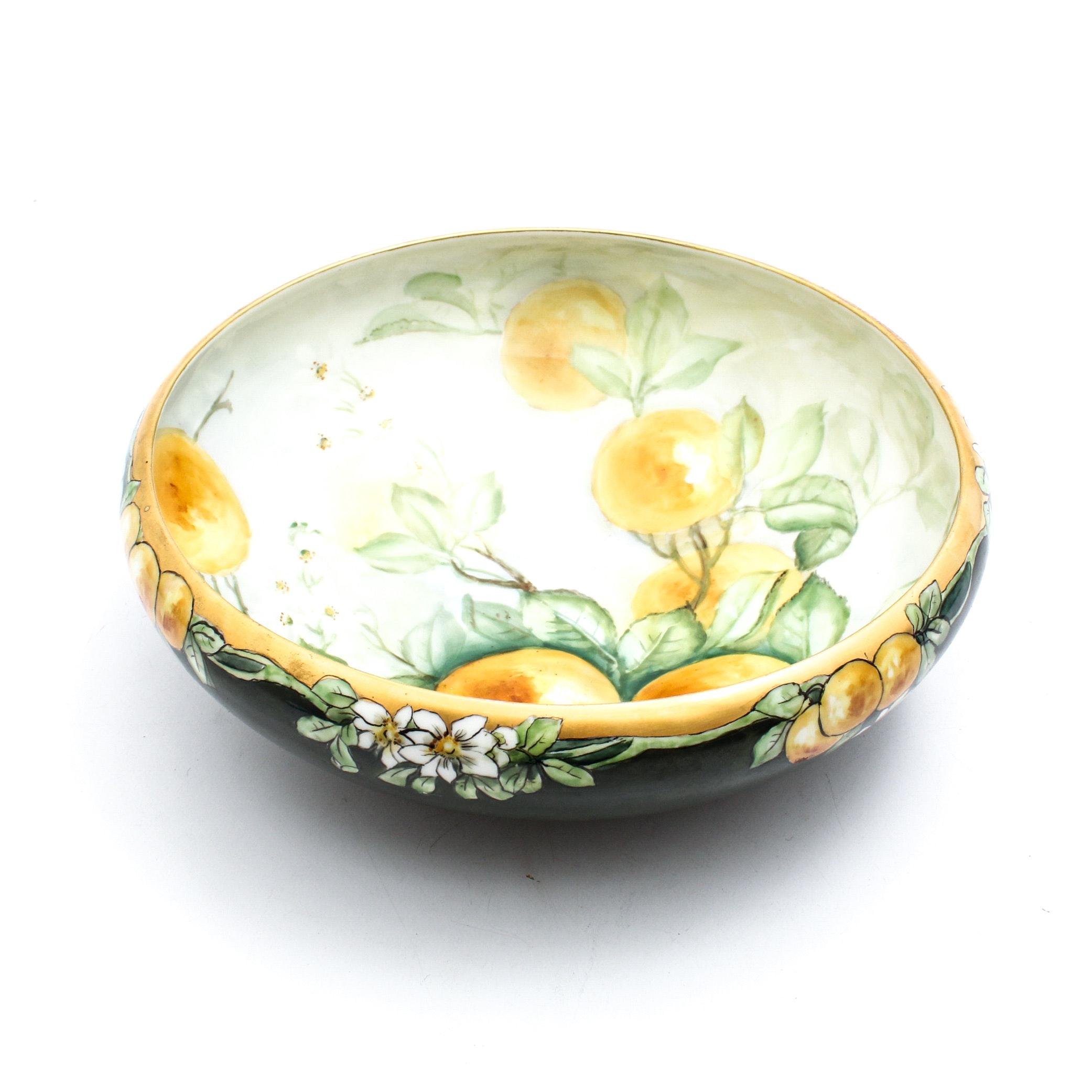 Tressman and Vogt Limoges Hand Painted Porcelain Bowl