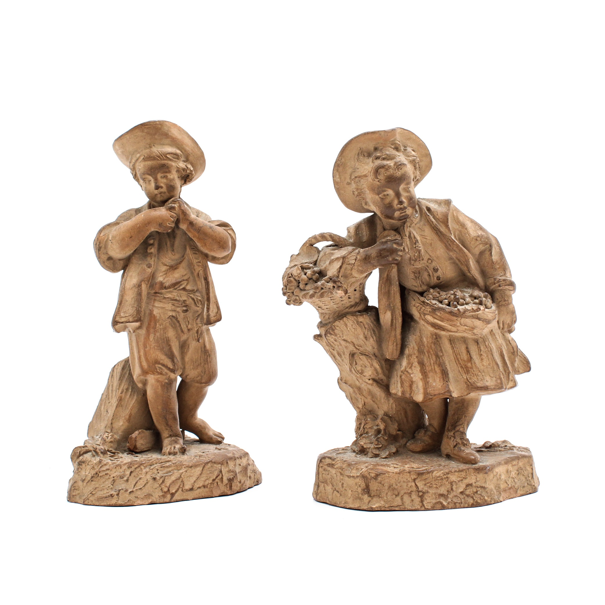 French Terra Cotta Pottery Figurines