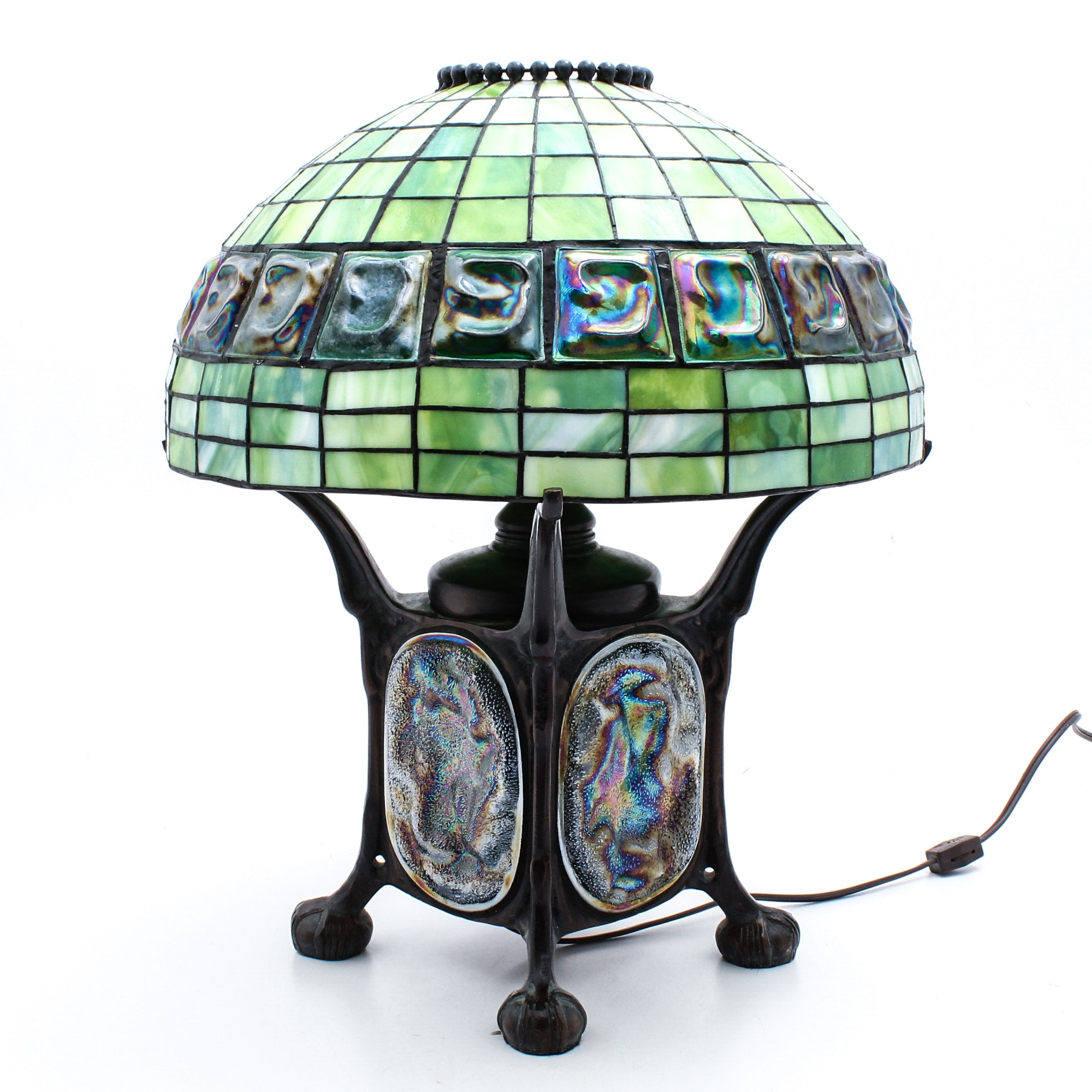 Claw Foot Square Bronze Metal Table Lamp with Tiffany Style Slag Glass Shade