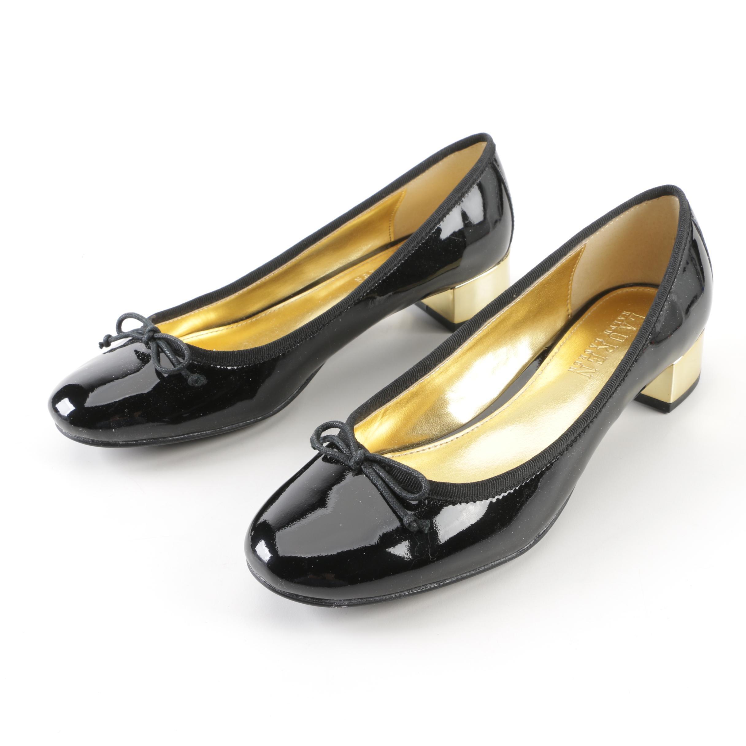 Lauren Ralph Lauren Black Patent Leather and Gold Tone Block Heel Pumps