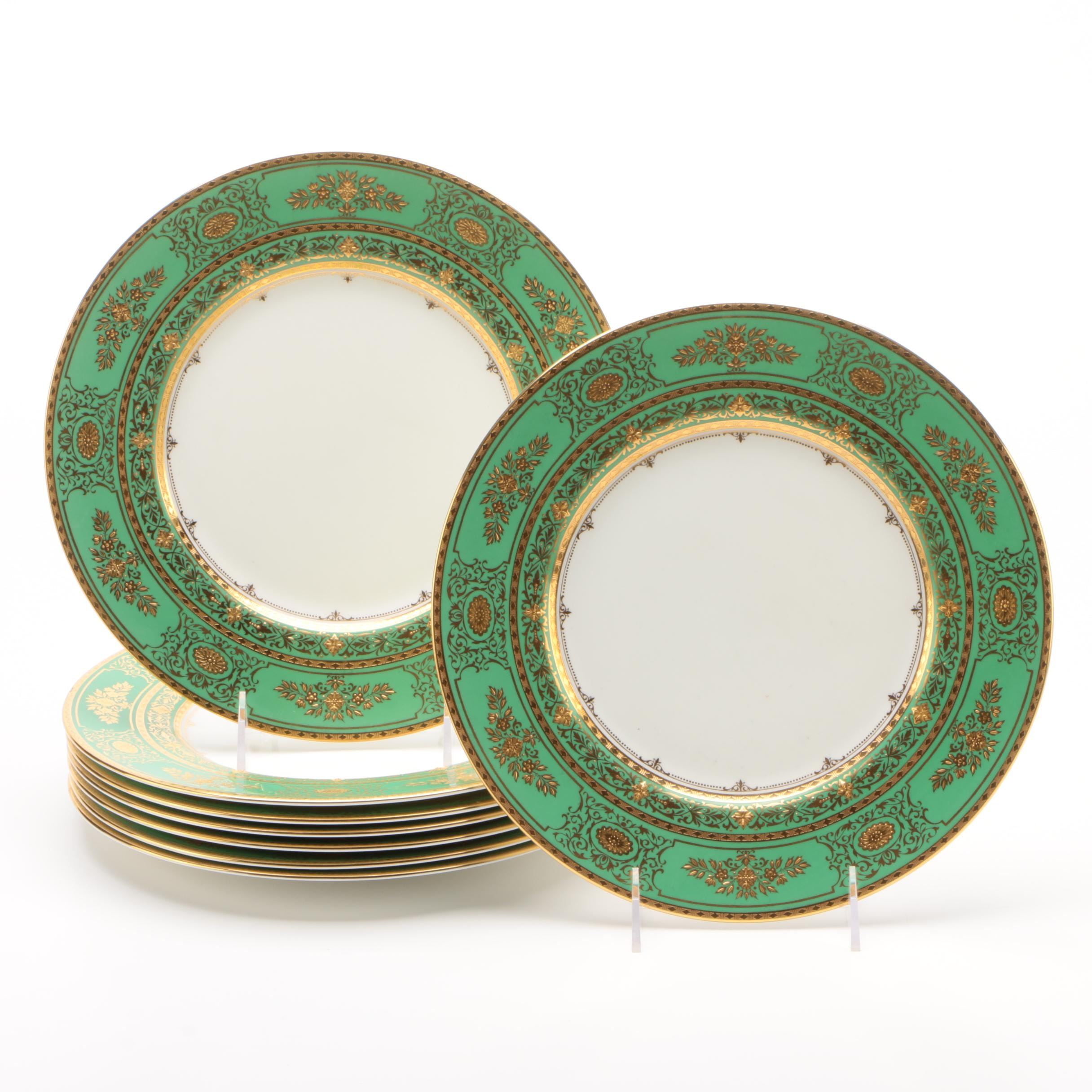 Minton Set of Eight Apple Green and Gold Encrusted Dinner Plates