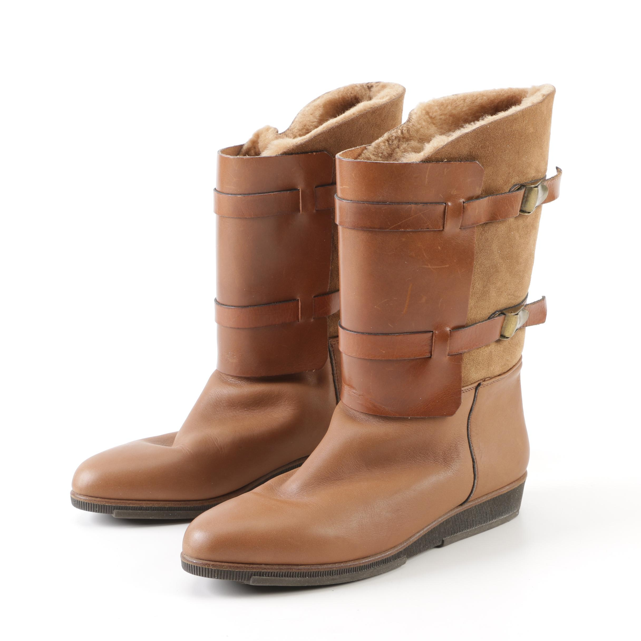 Women's Tan Suede and Leather Boots with Shearling Linings, Made in Italy