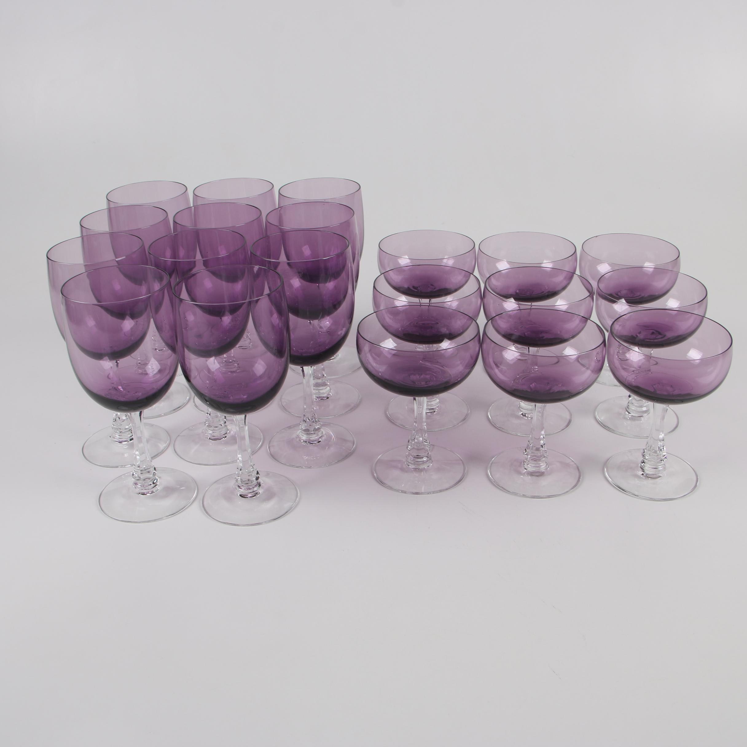 "Fostoria Glass ""Fascination Lilac"" Water Goblets and Champagne Coupes"