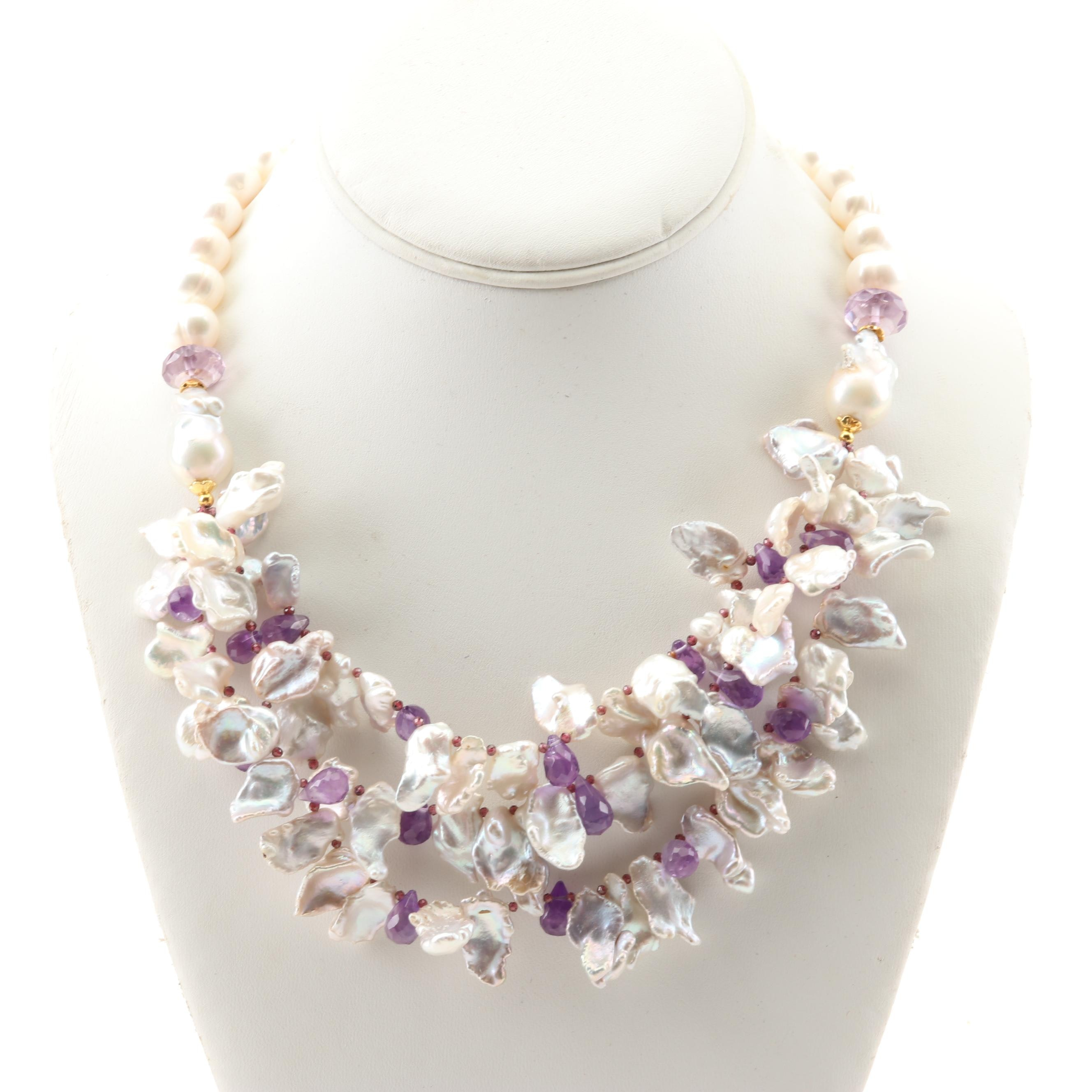 Freshwater Pearl and Amethyst Necklace with Sterling Clasp