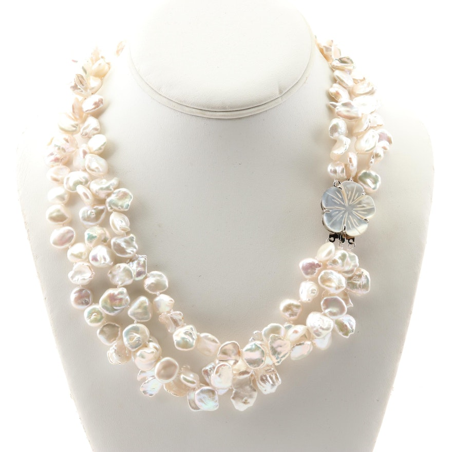 b4d4c74b11803 Triple Strand Freshwater Pearl Necklace with Carved Mother of Pearl Clasp