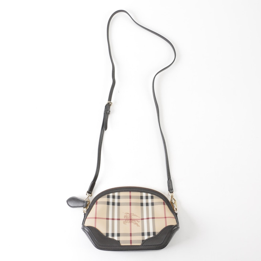 "Burberry ""Haymarket"" Coated Canvas and Black Leather Orchard Crossbody Bag    EBTH e3ac0cc717615"