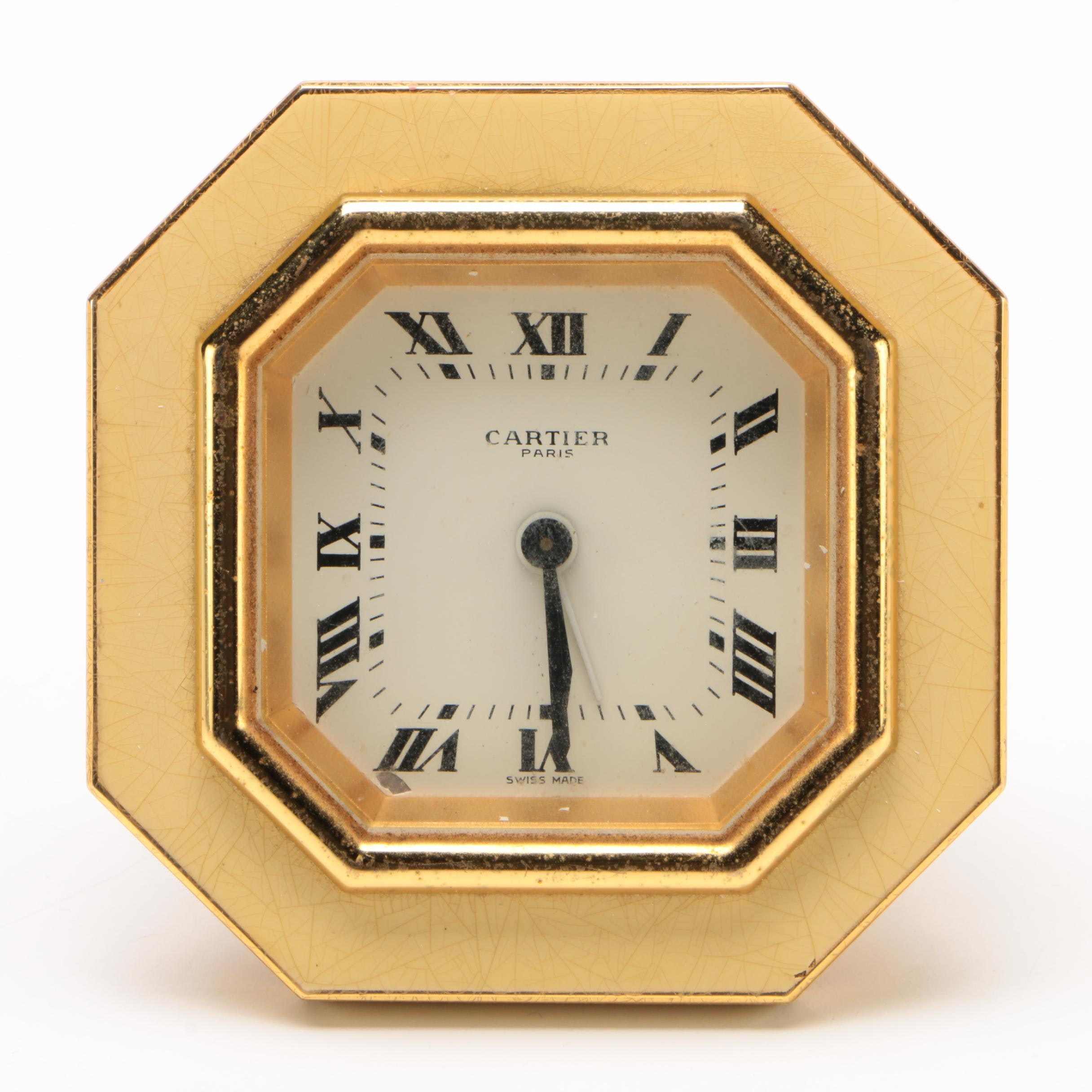 Cartier Gilt Metal Octagonal Desk Clock with Enamel Frame
