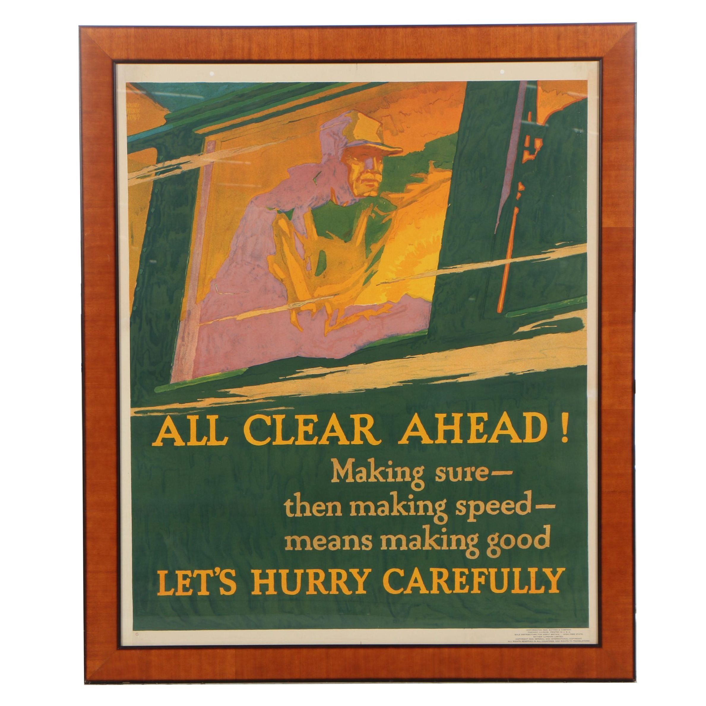 "Willard Frederic Elmes Lithograph Poster for Mather & Company ""All Clear Ahead!"""