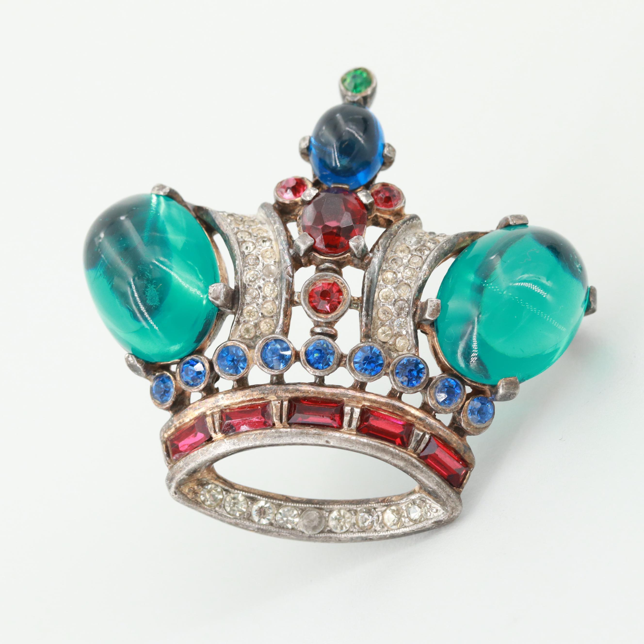 Circa 1940s Alfred Philippe Crown Trifari Silver Tone Glass Crown Brooch