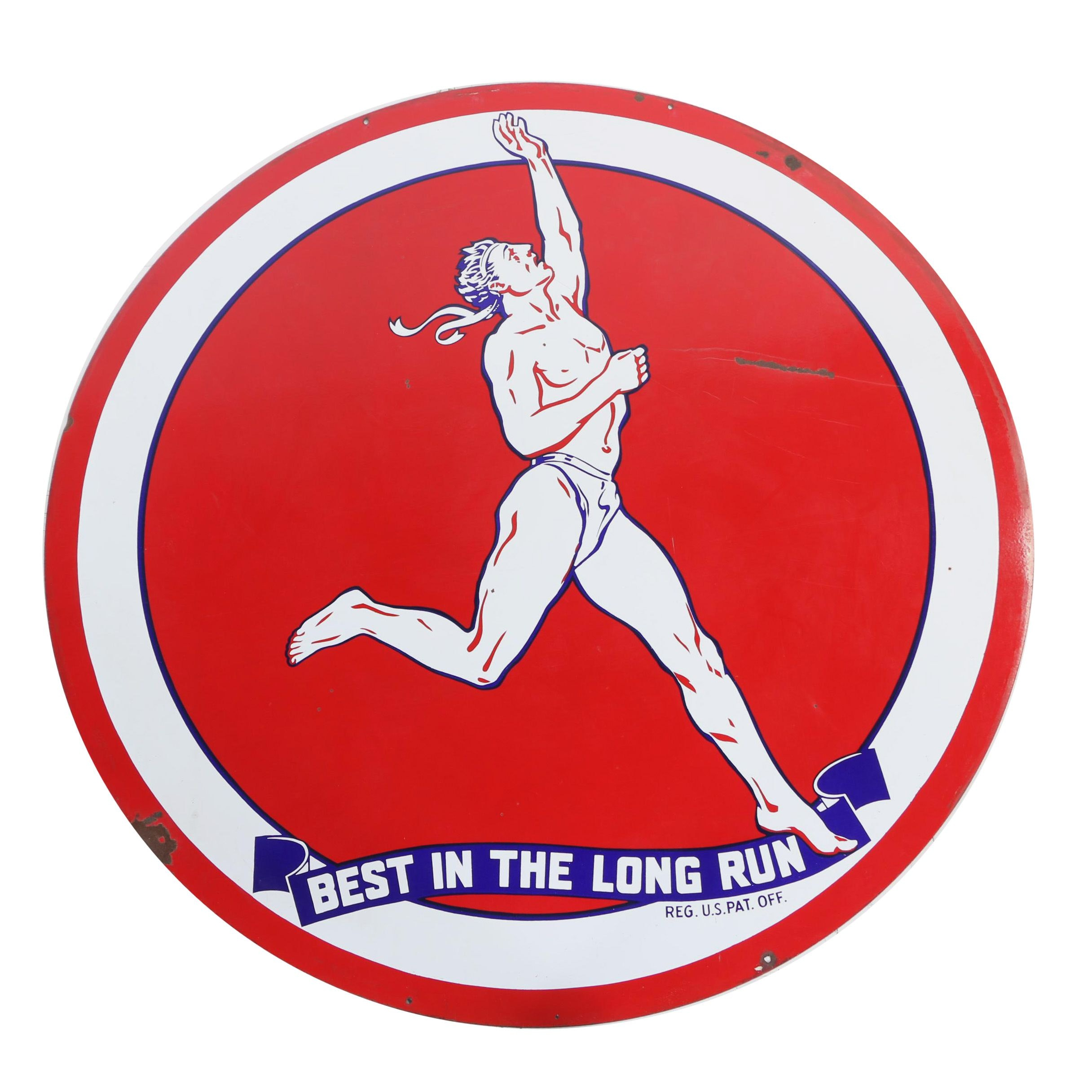 "Monumental Marathon Gasoline ""Best in the Long Run"" Enameled Metal Sign"