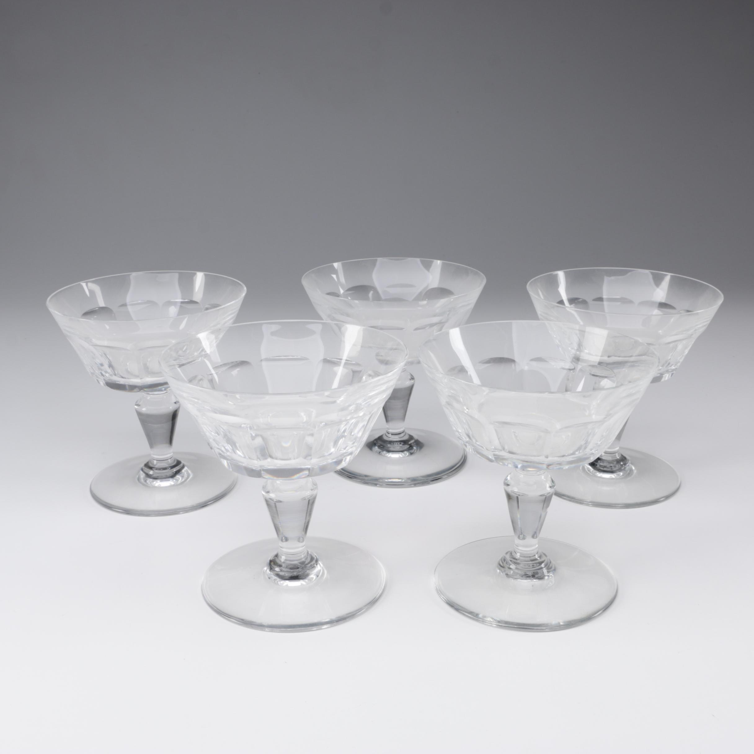 "Baccarat Crystal ""Bretagne"" Champagne Coupes, Mid/Late 20th Century"