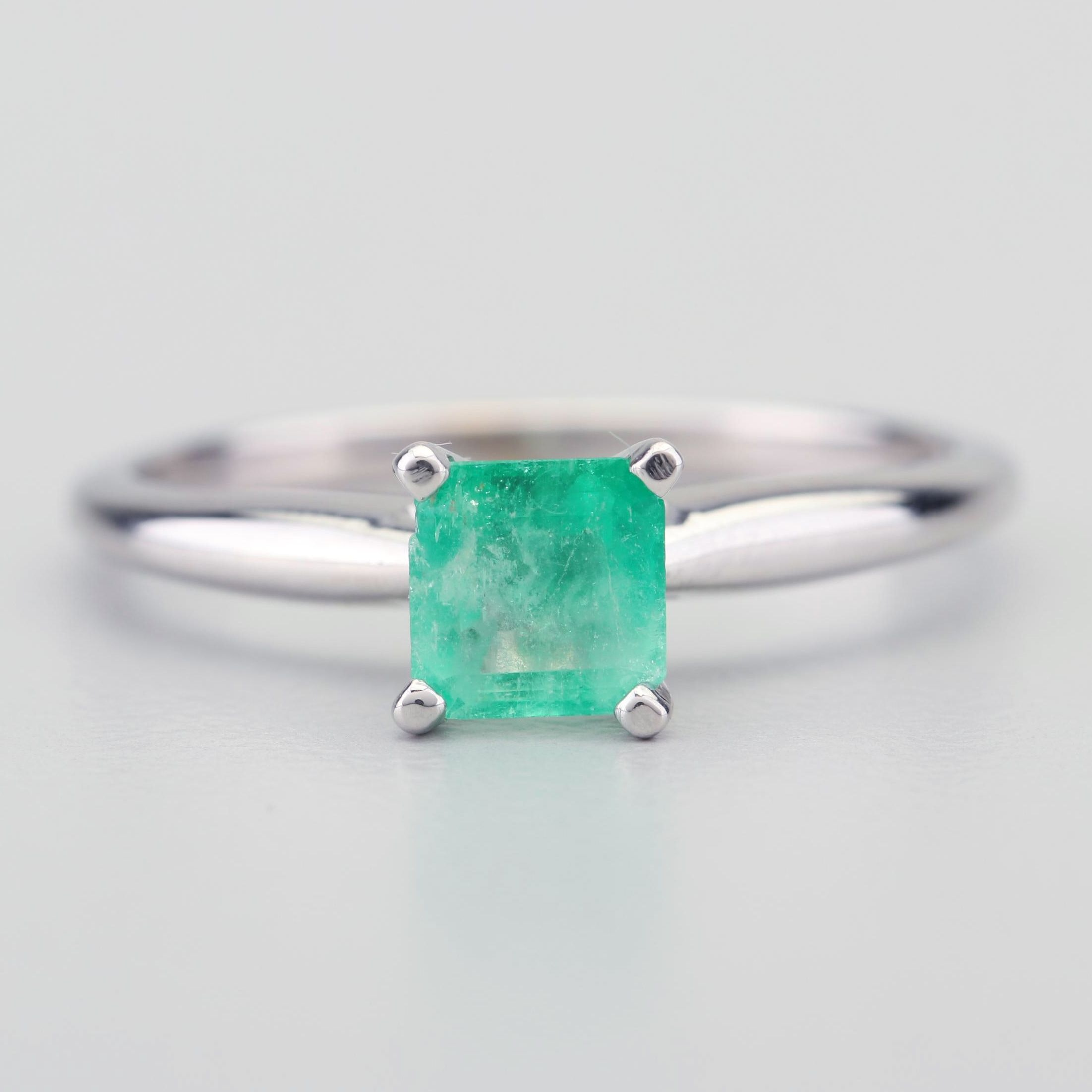 14K White Gold and Emerald Ring