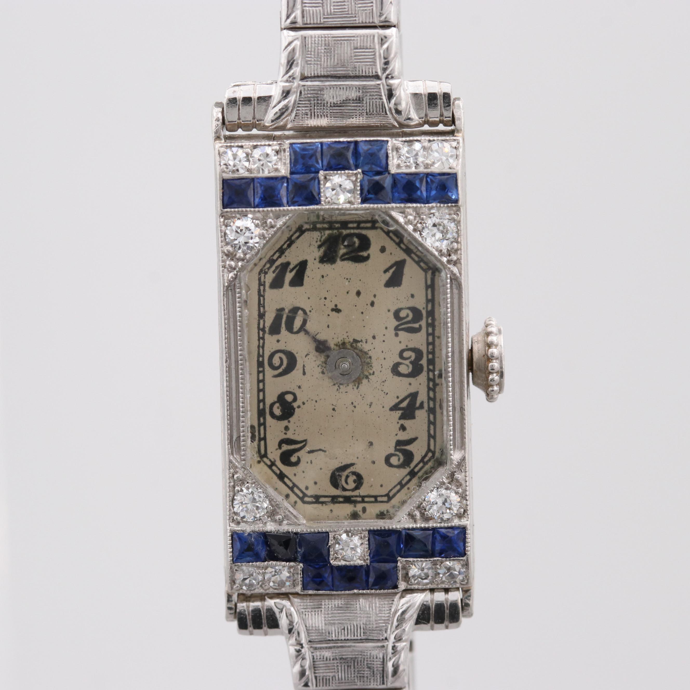 Swiss Platinum Sapphire and Diamond Wristwatch