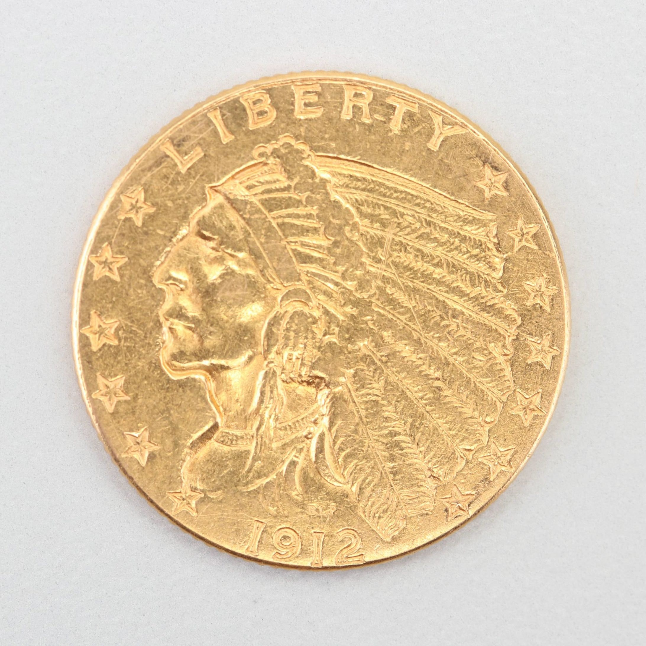 1912 Indian Head $2 1/2 Gold Coin