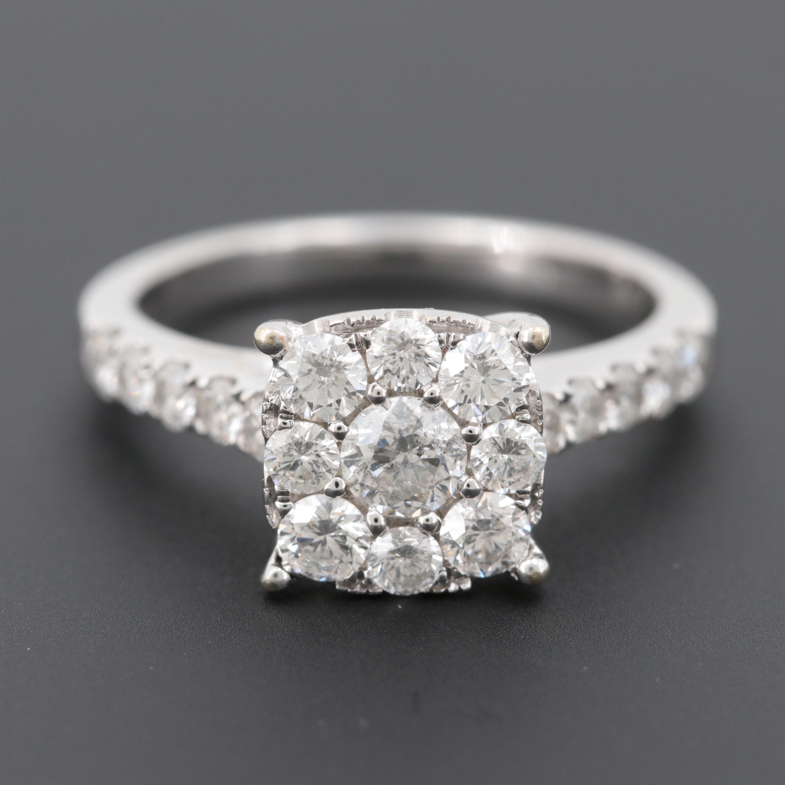 14K White Gold 1.10 CTW Diamond Ring
